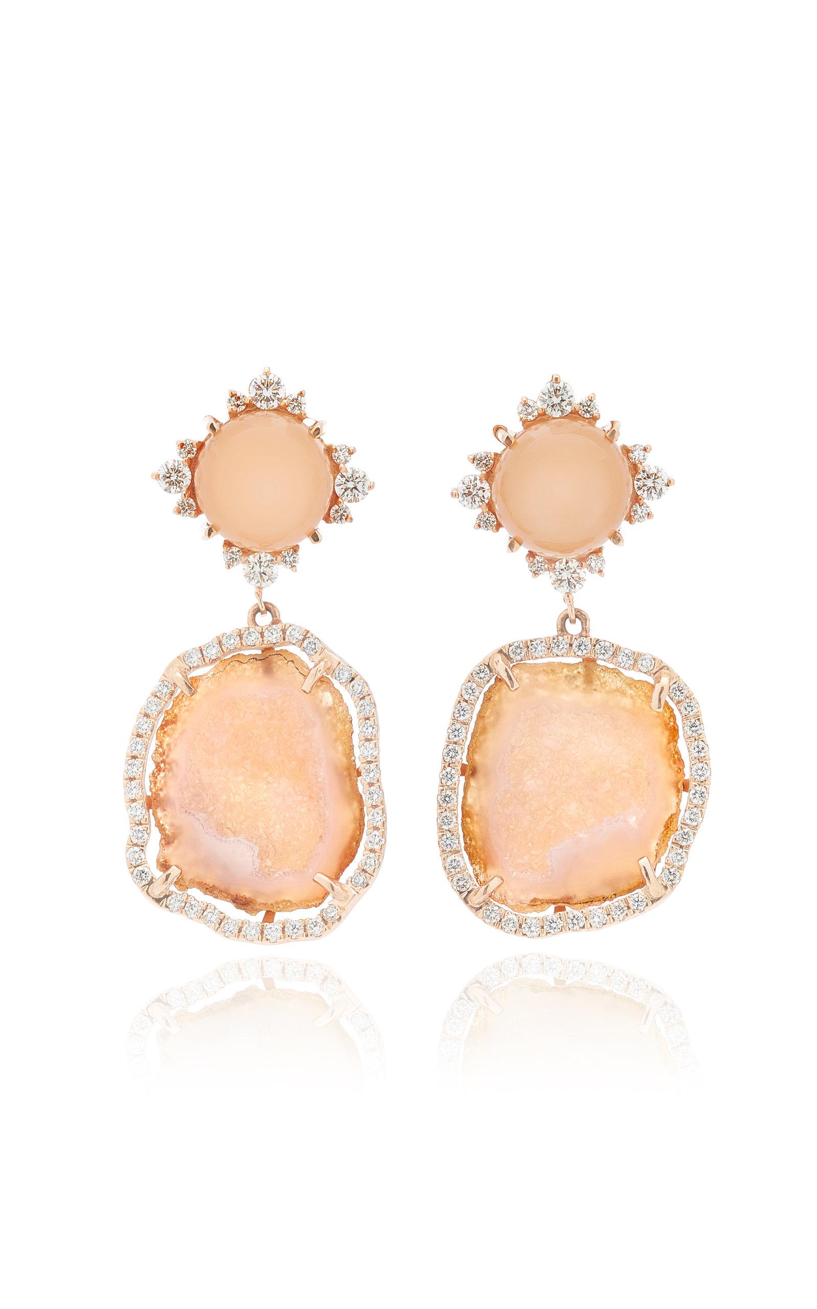 Women's 14K Rose Gold Moonstone; Geode and Diamond Earrings