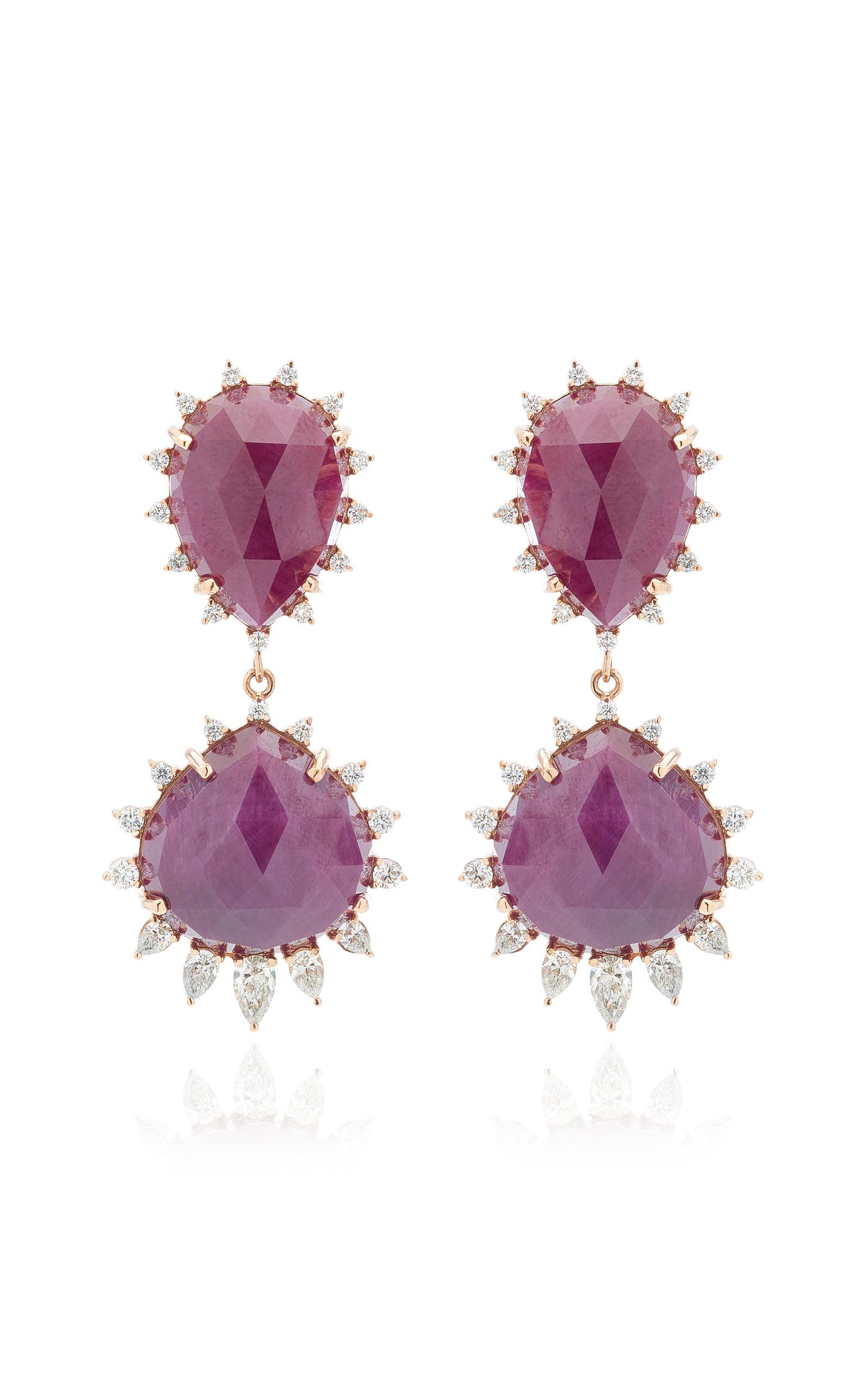 Women's Halo 18K Rose Gold Ruby and Diamond Earrings