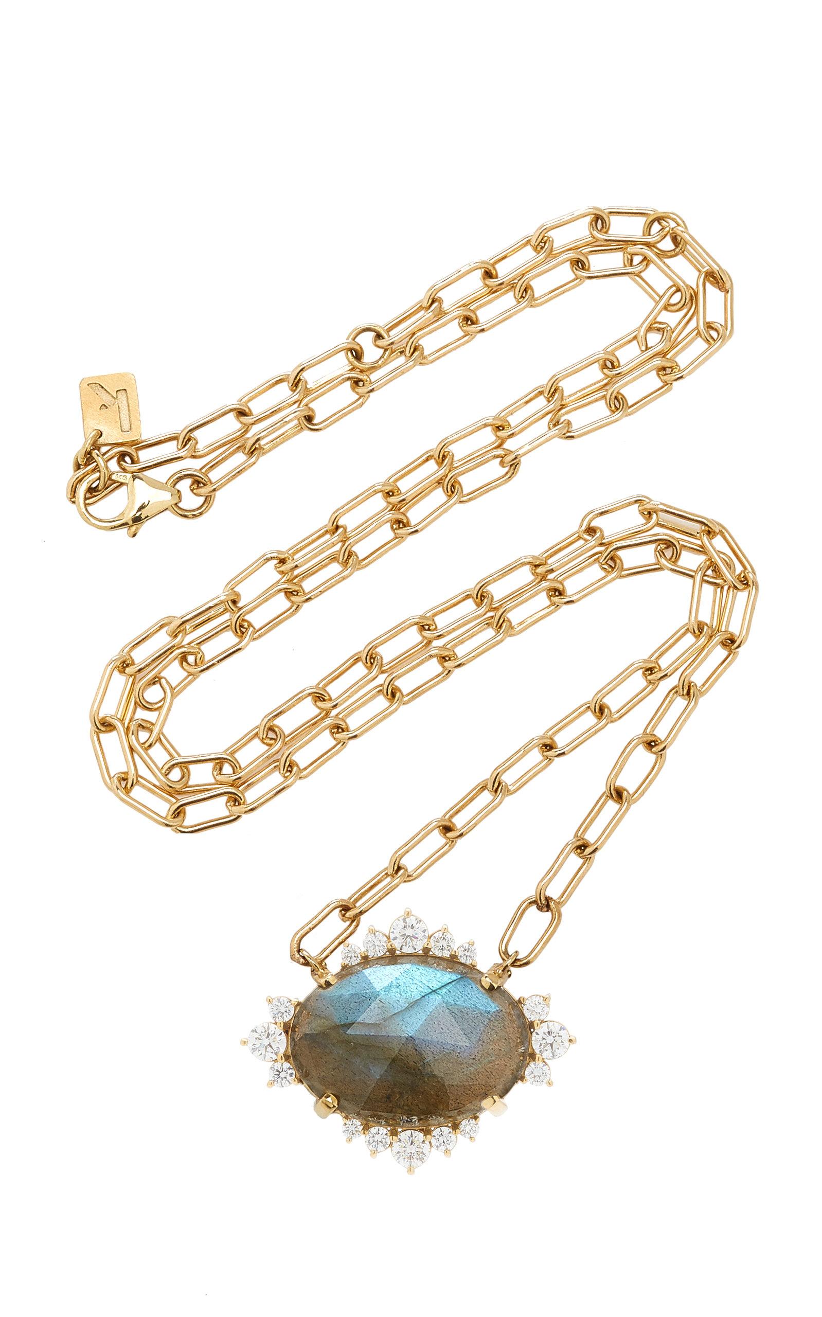 Women's Halo 14K Yellow Gold Labradorite and Diamond Necklace
