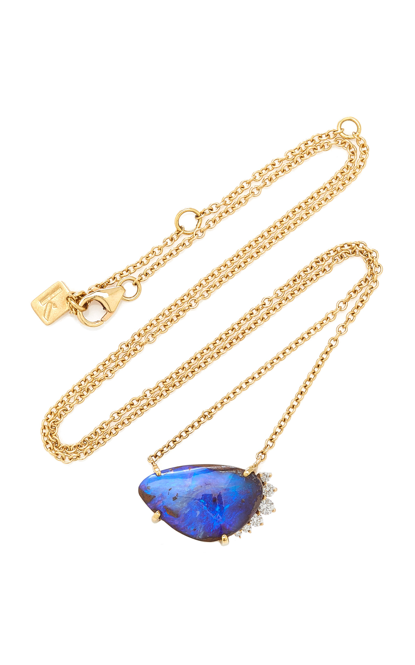Women's 14K Yellow Gold Opal and Diamond Necklace