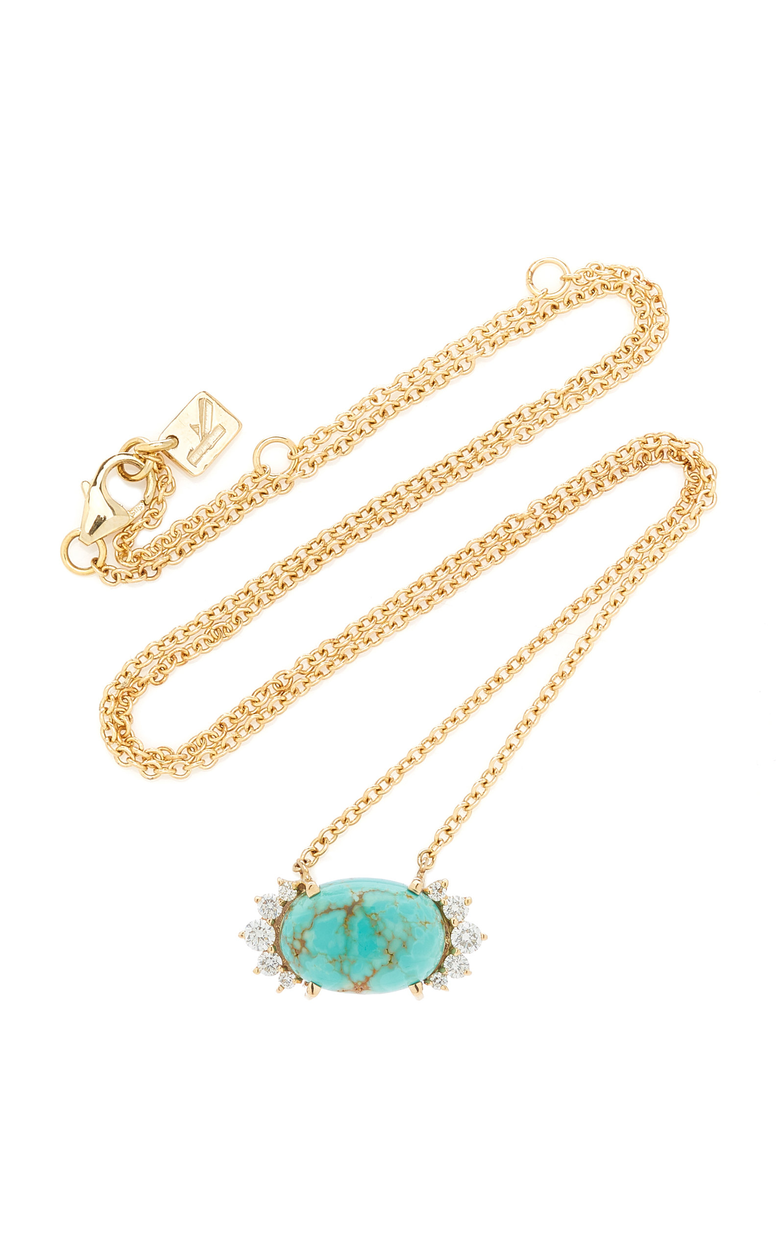 Women's 14K Yellow Gold Turquoise and Diamond Necklace