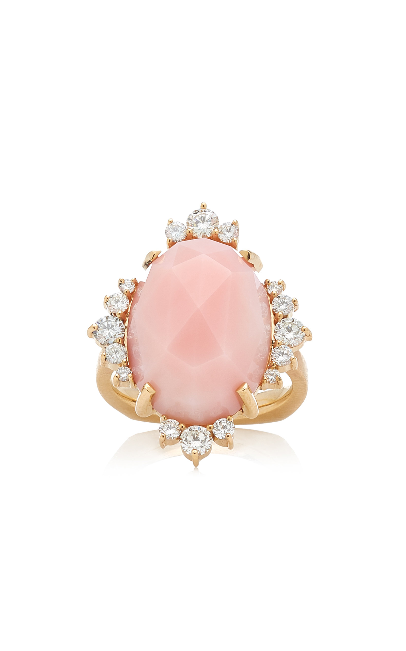 Women's Halo 14K Yellow Gold Opal and Diamond Ring