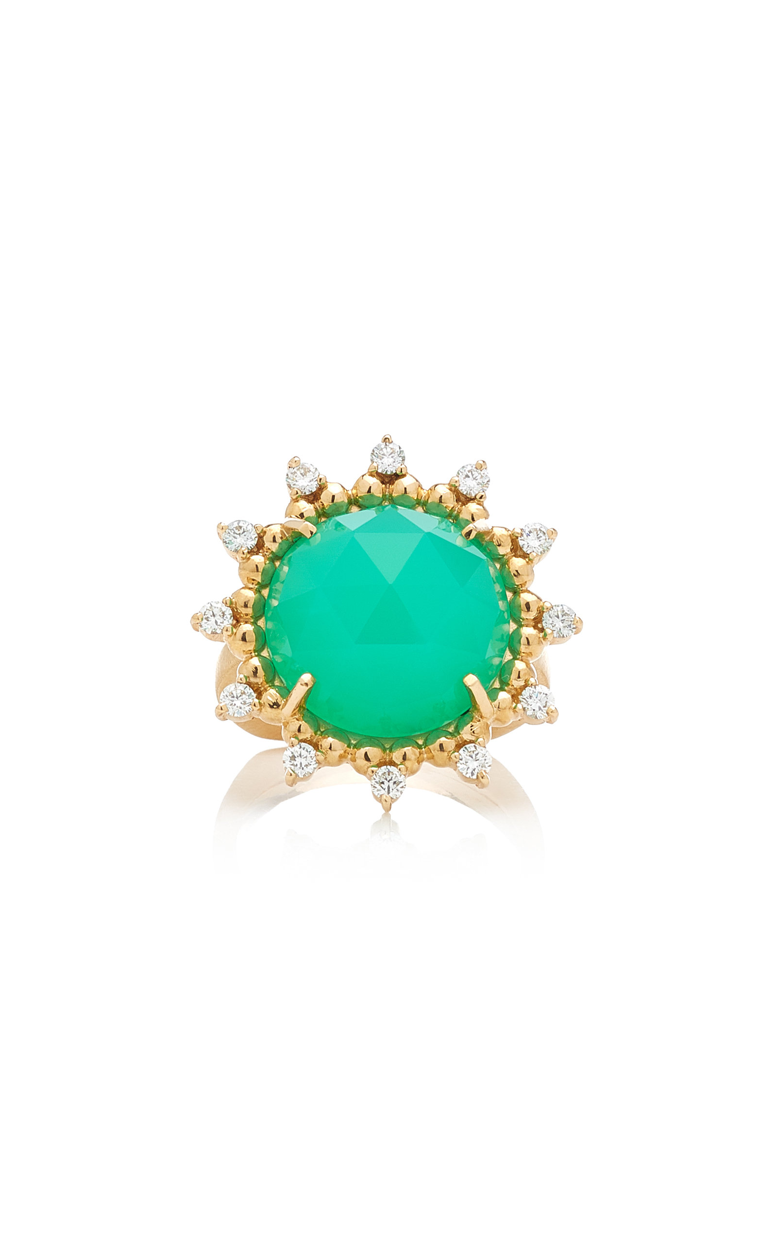 Women's Sunburst 14K Yellow Gold Chrysoprase and Diamond Ring