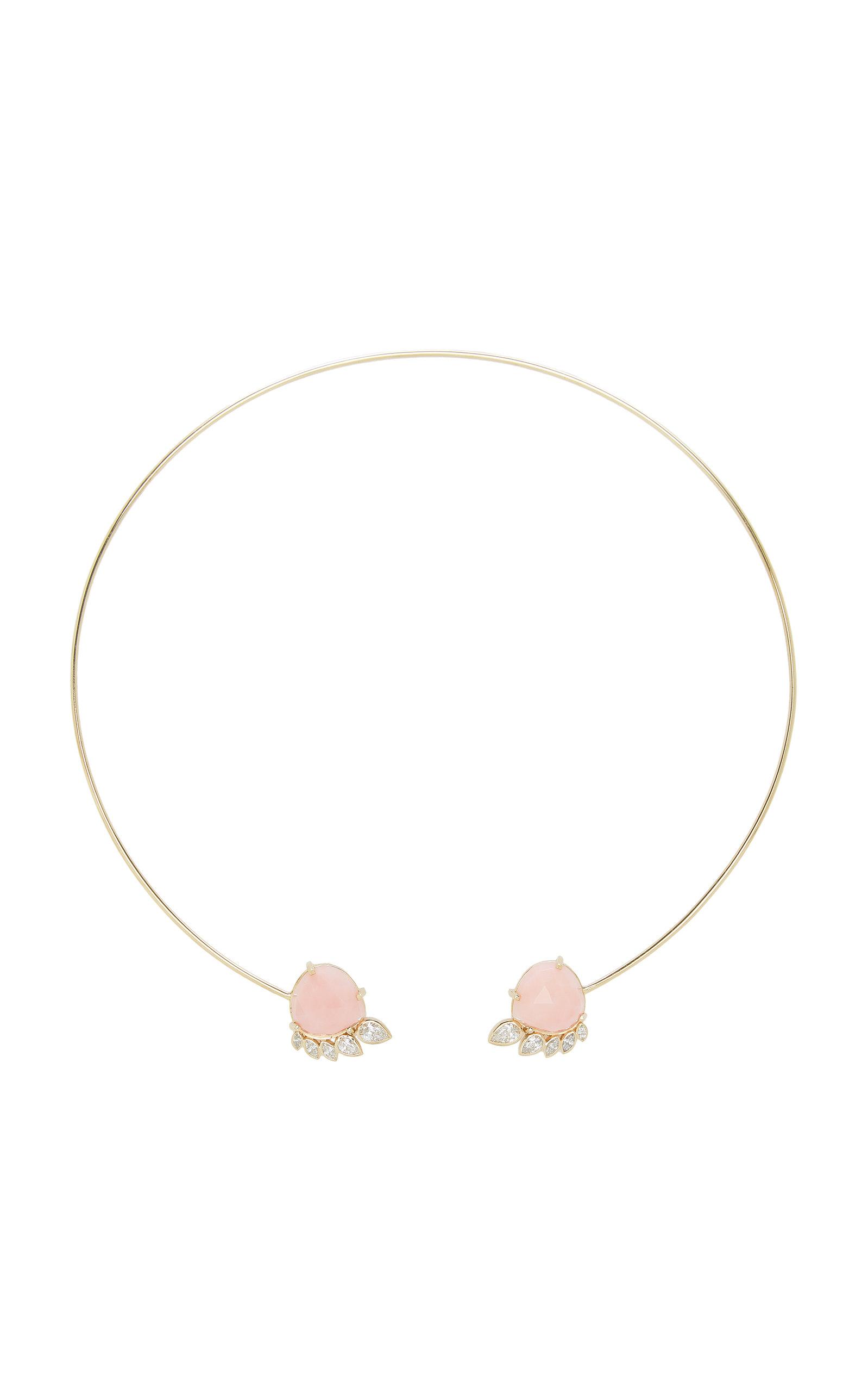Women's Fringe 14K Yellow Gold Opal and Diamond Cuff Necklace