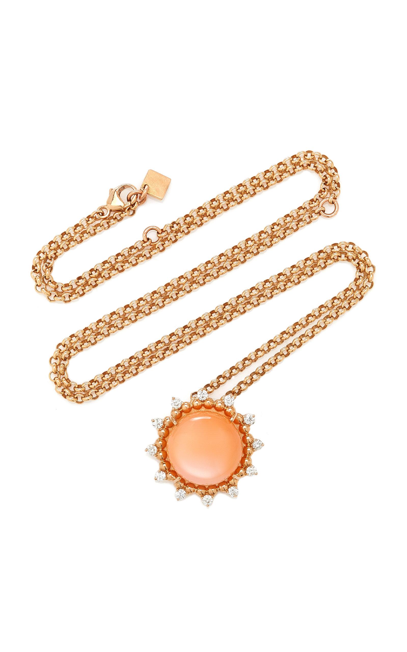 Women's Sunburst 18K Rose Gold Moonstone and Diamond Necklace
