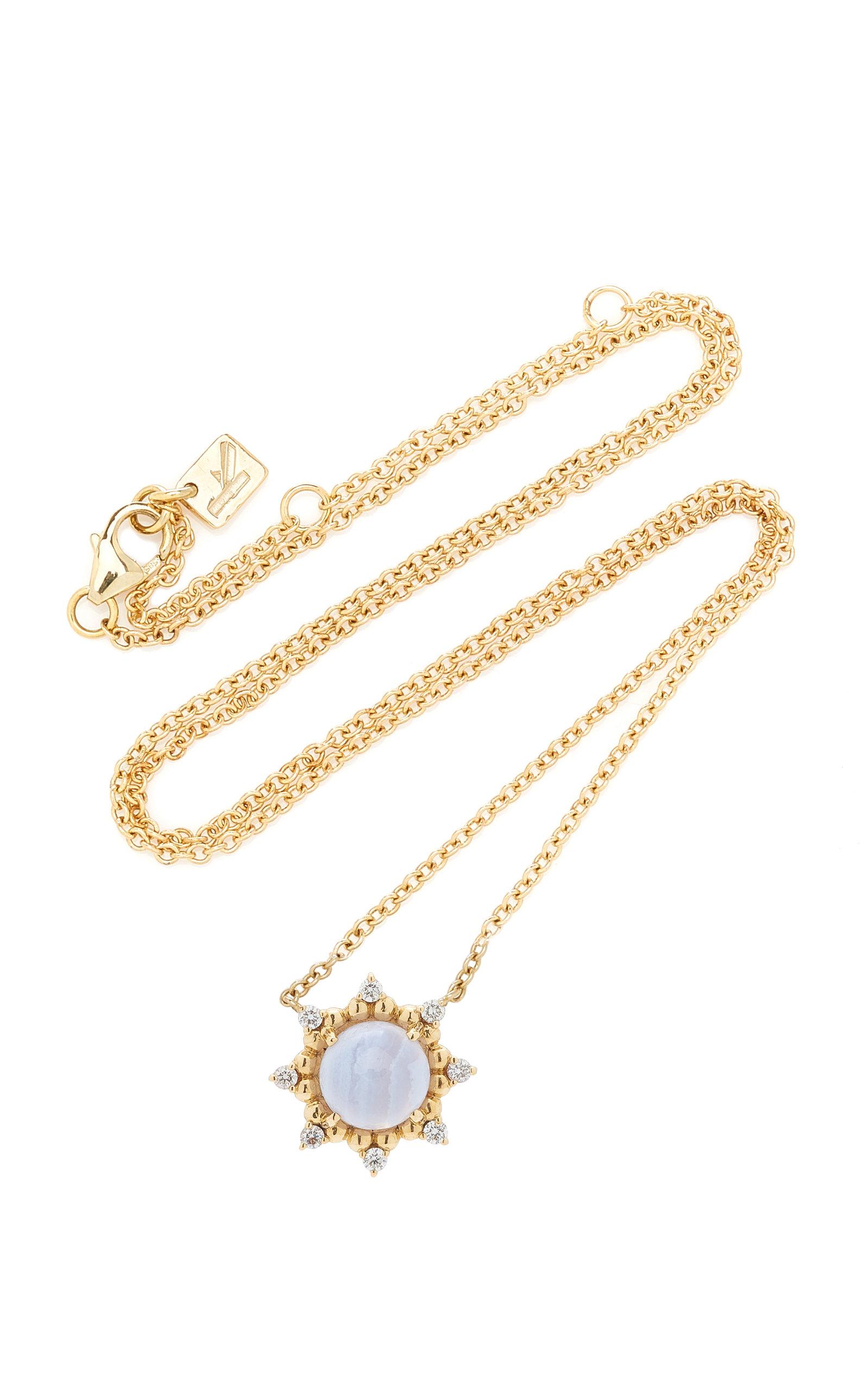 Women's Sunburst 14K Yellow Gold Agate and Diamond Necklace
