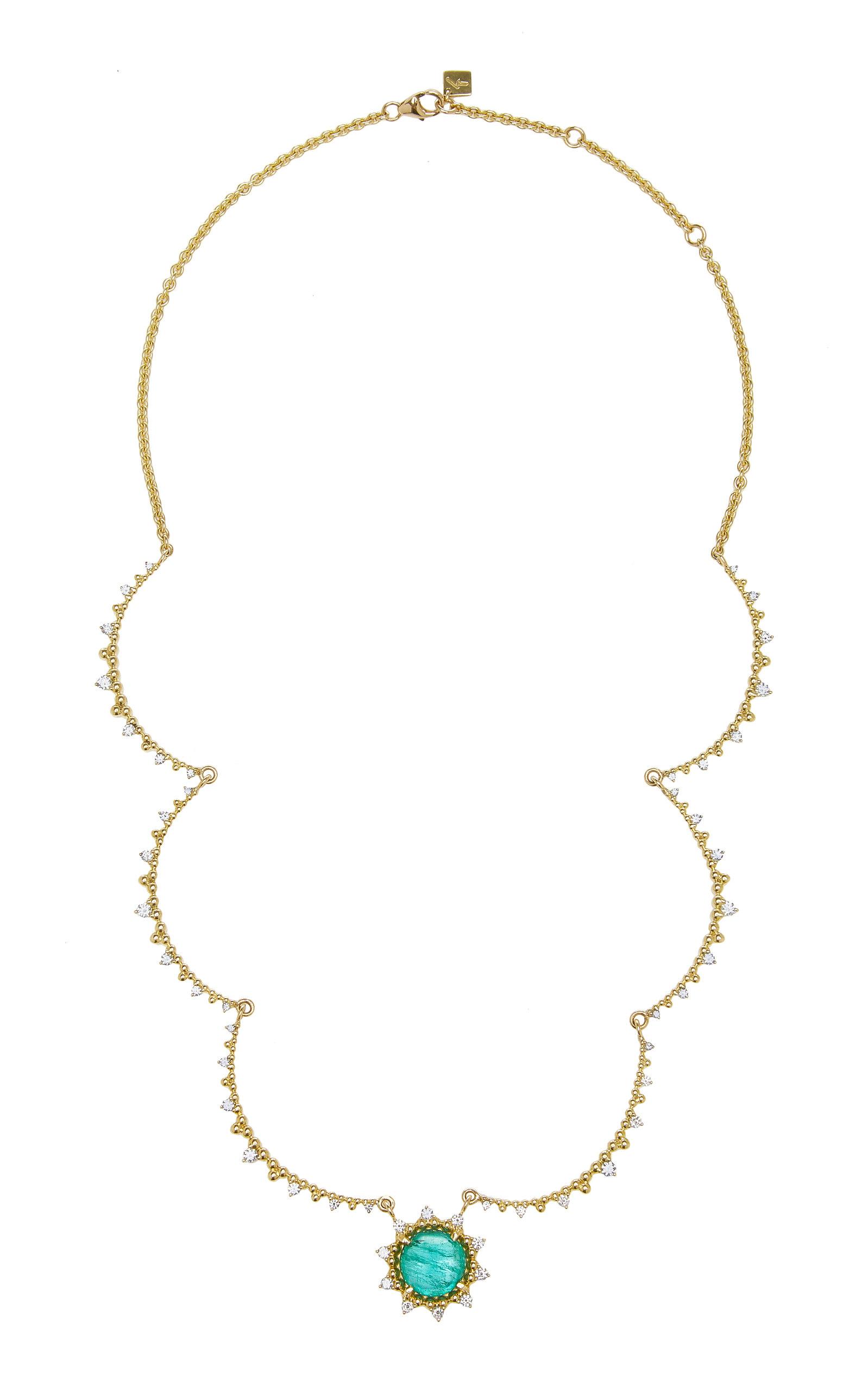 Women's Sunburst 18K Yellow Gold Emerald and Diamond Necklace