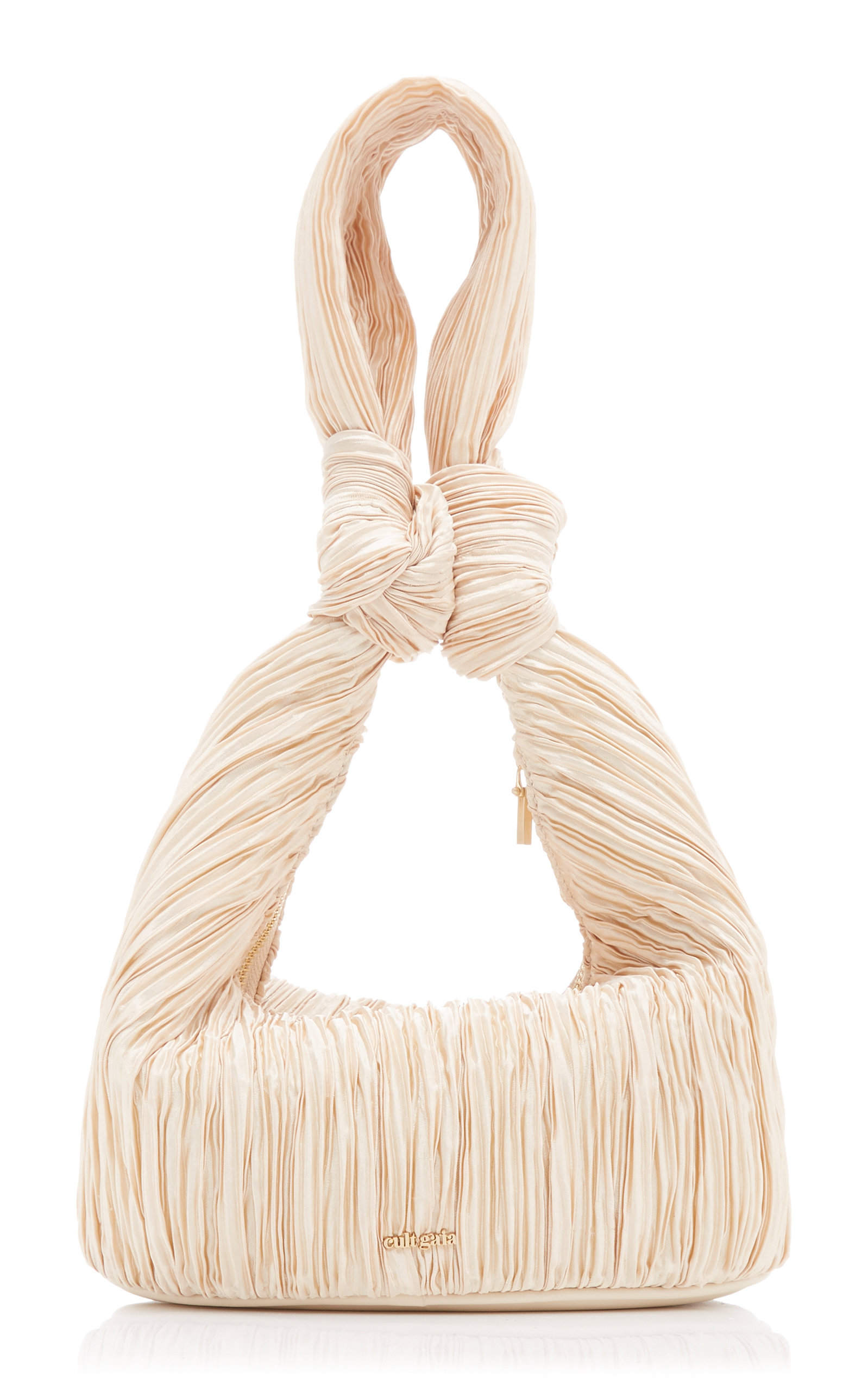 Cult Gaia MINA KNOTTED PLEATED SATIN TOP HANDLE BAG