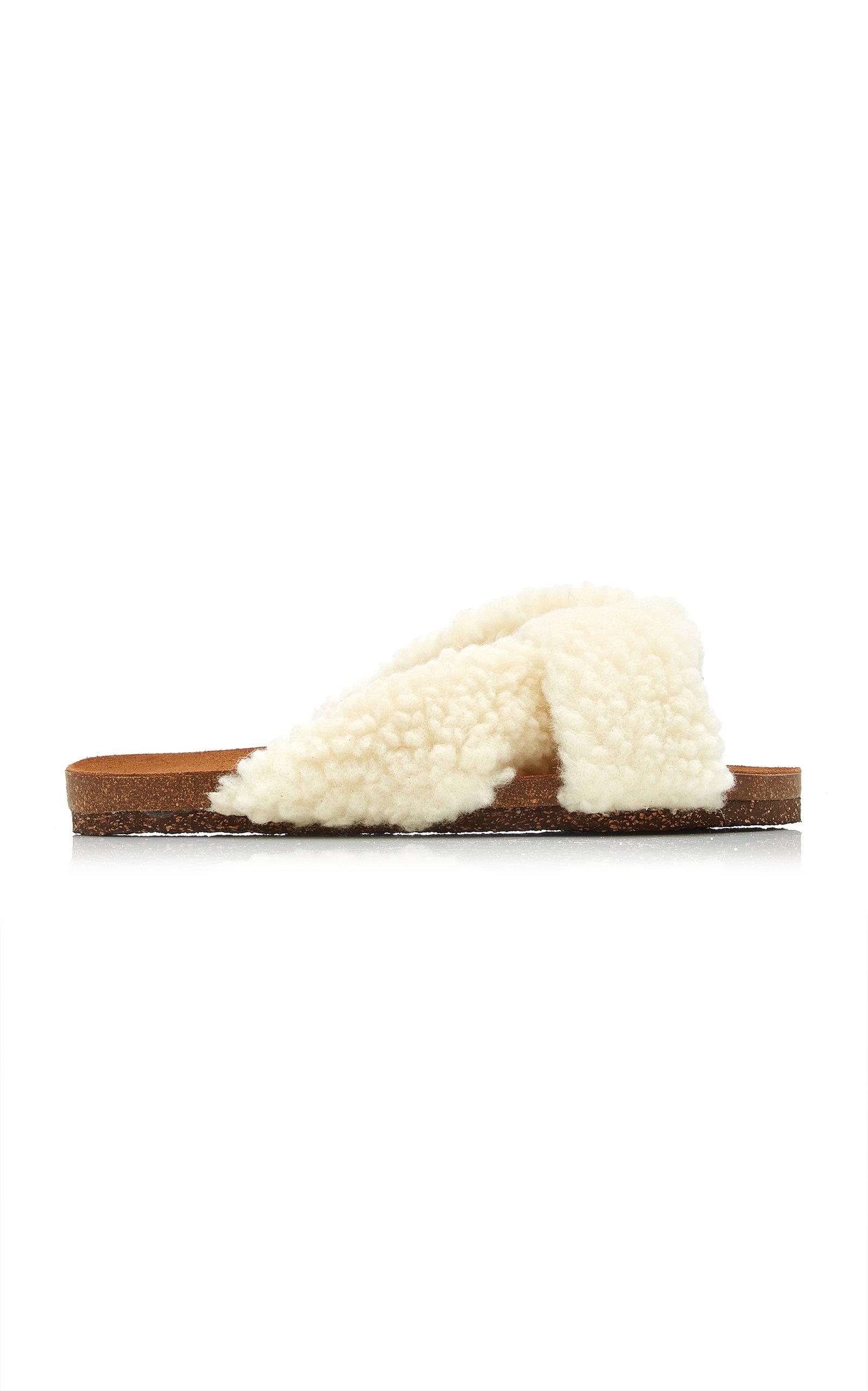 Flattered - Women's Lou Faux Fur Sandals - White - Moda Operandi