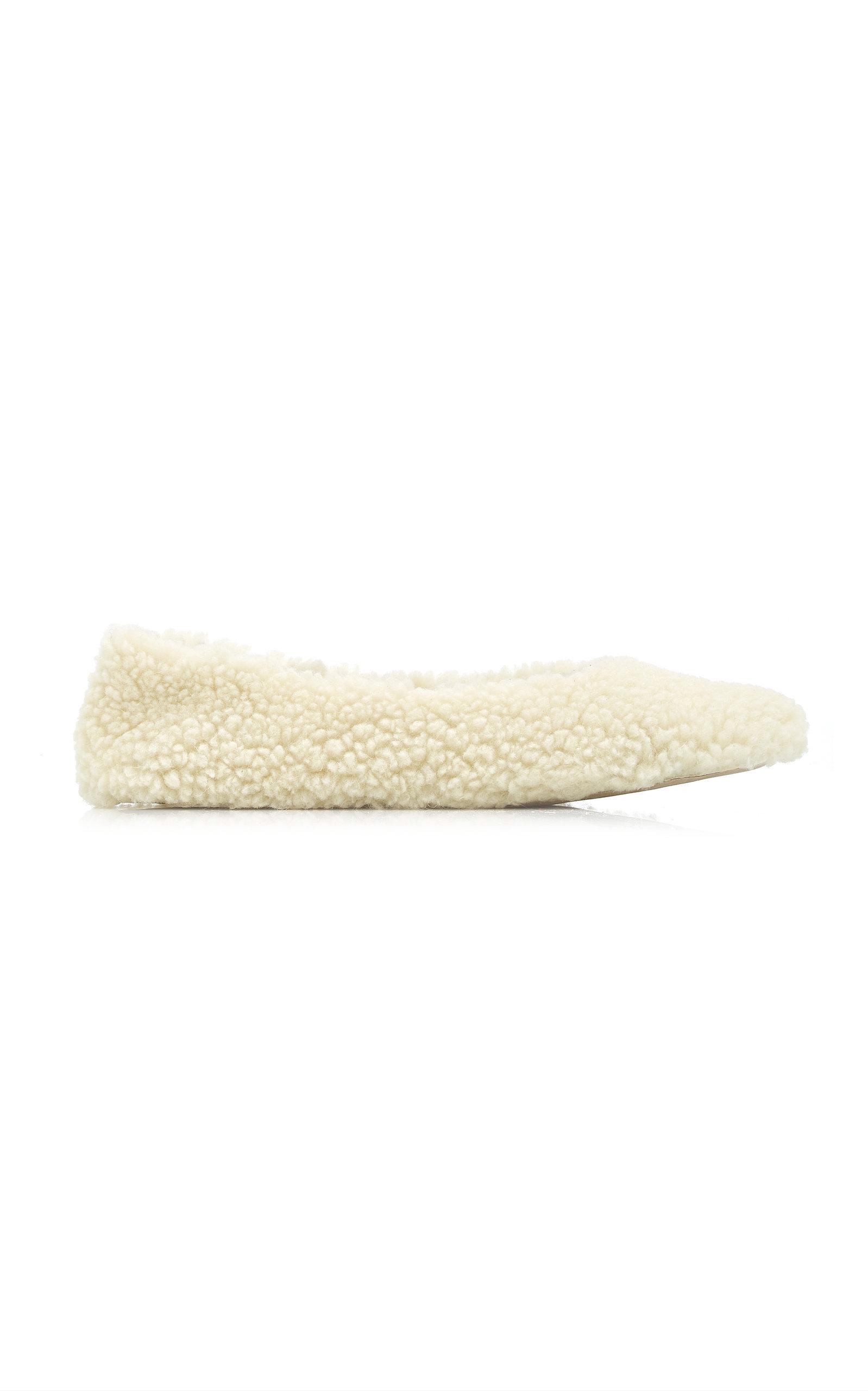 Flattered - Women's Nina Teddy Faux Fur Ballet Flats - White - Moda Operandi