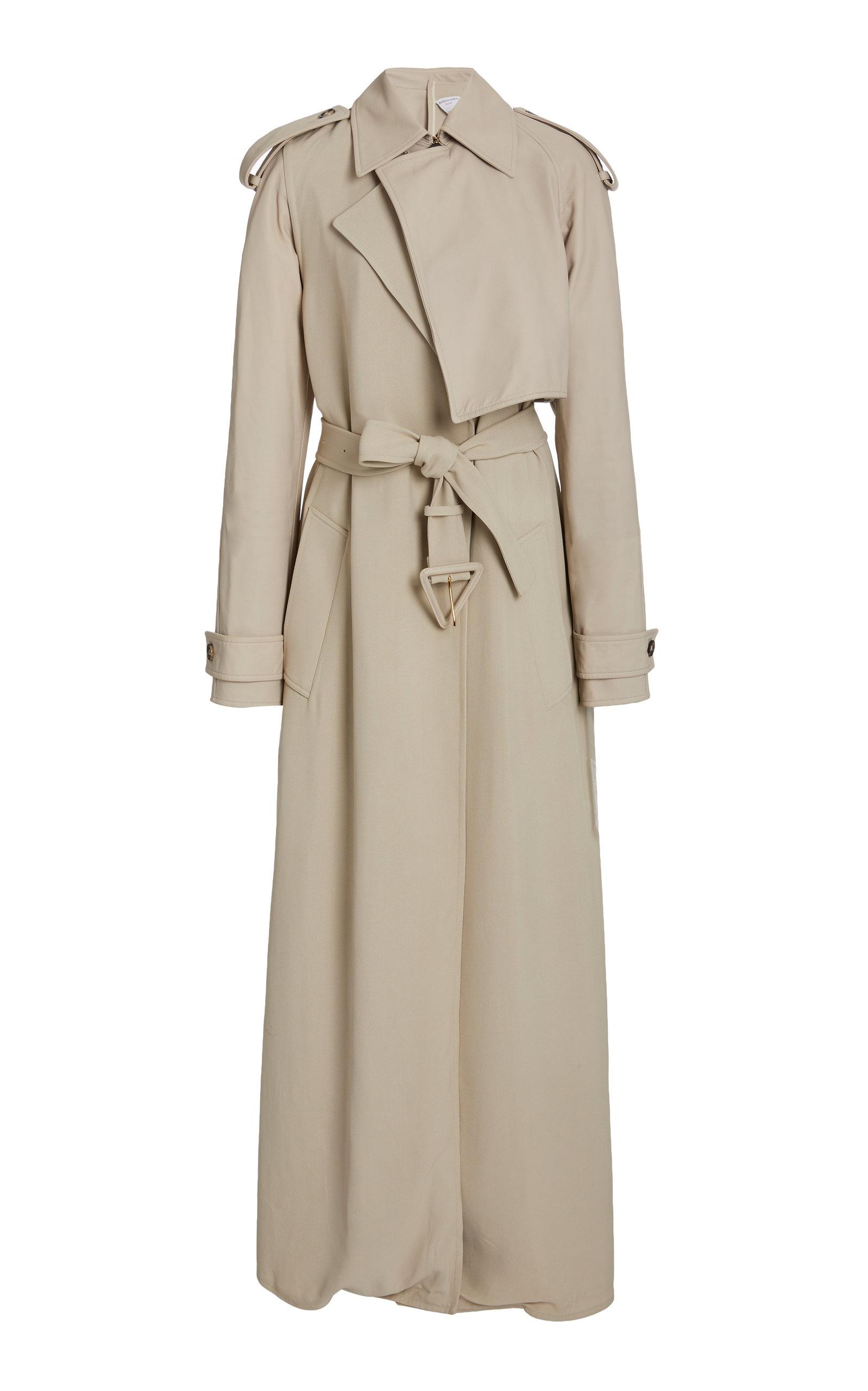 Bottega Veneta - Women's Long Belted Twill Trench Coat - Neutral - Moda Operandi