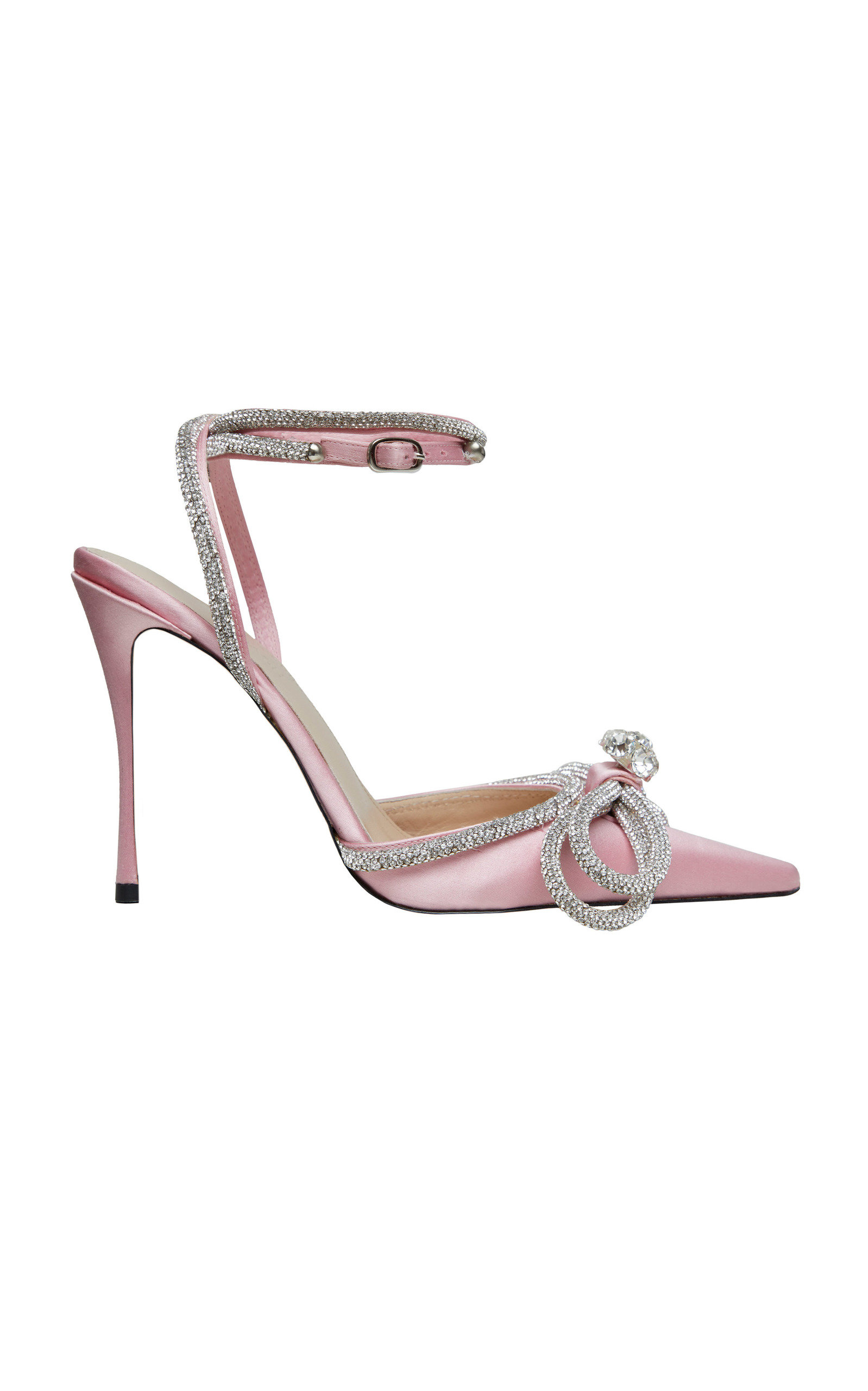 Women's Double Bow Crystal-Embellished Satin Pumps