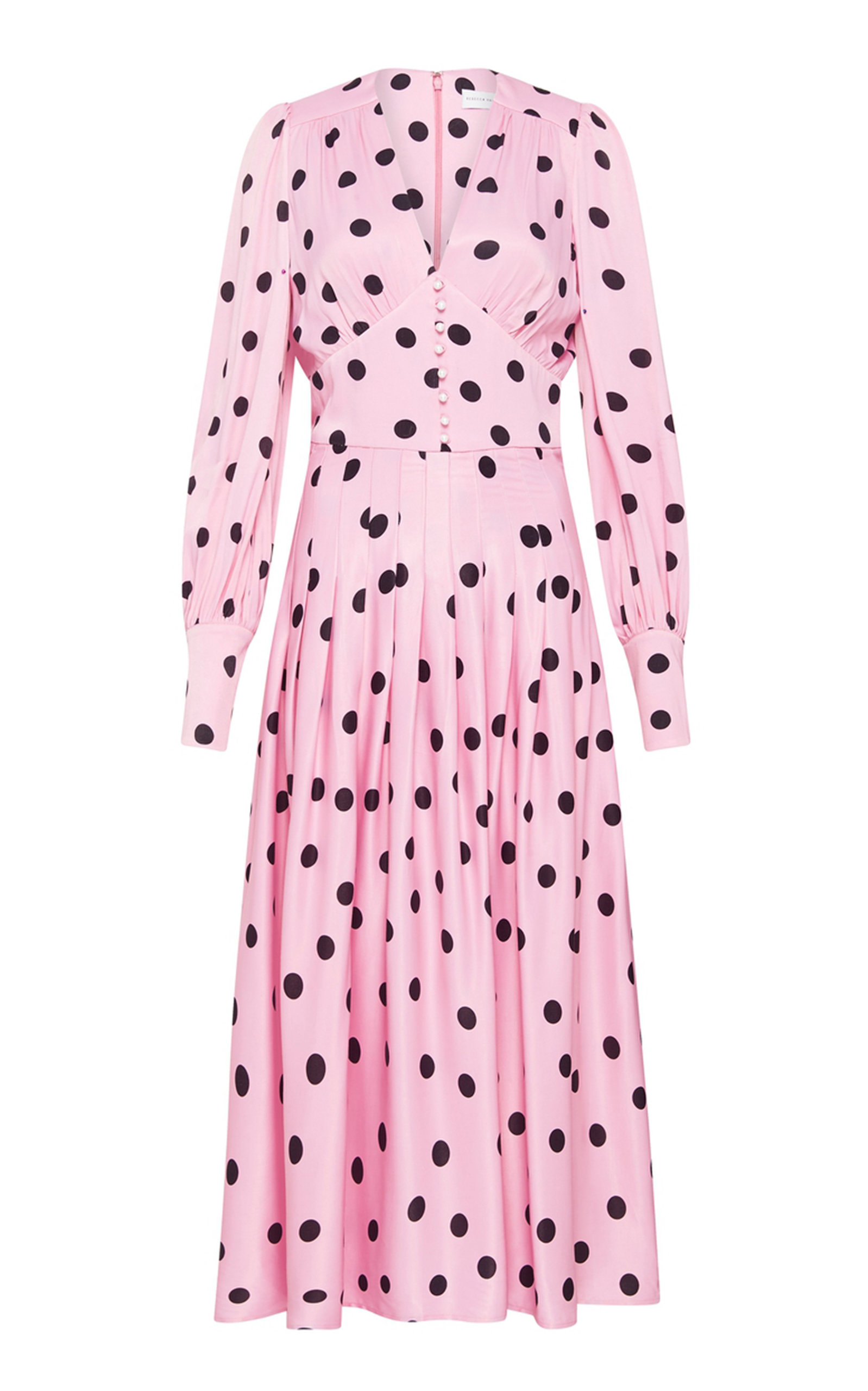 Rebecca Vallance MATTEL PLEATED POLKA-DOT CREPE MIDI DRESS