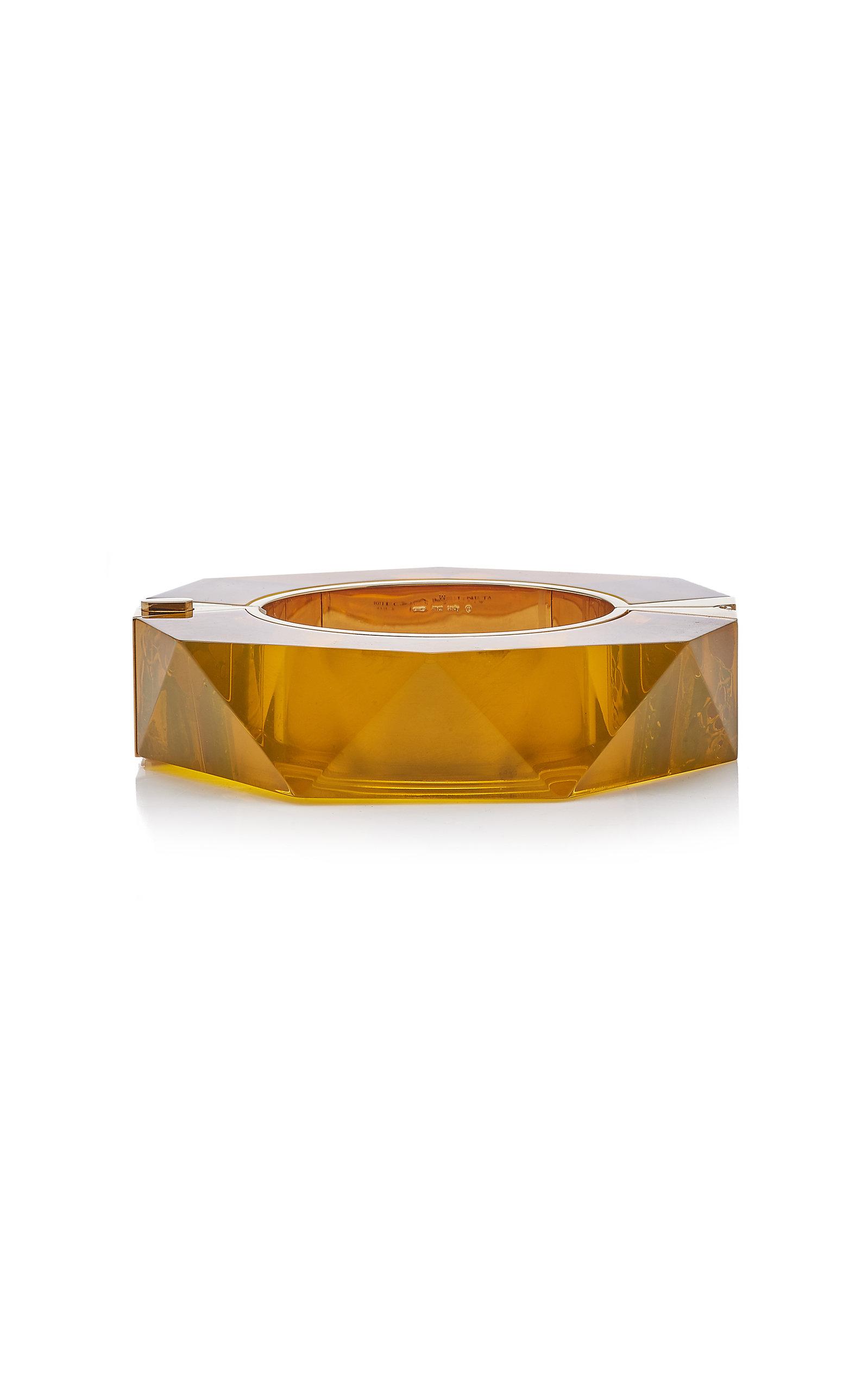 BOTTEGA VENETA FACETED RESIN 18K GOLD-PLATED BRACELET