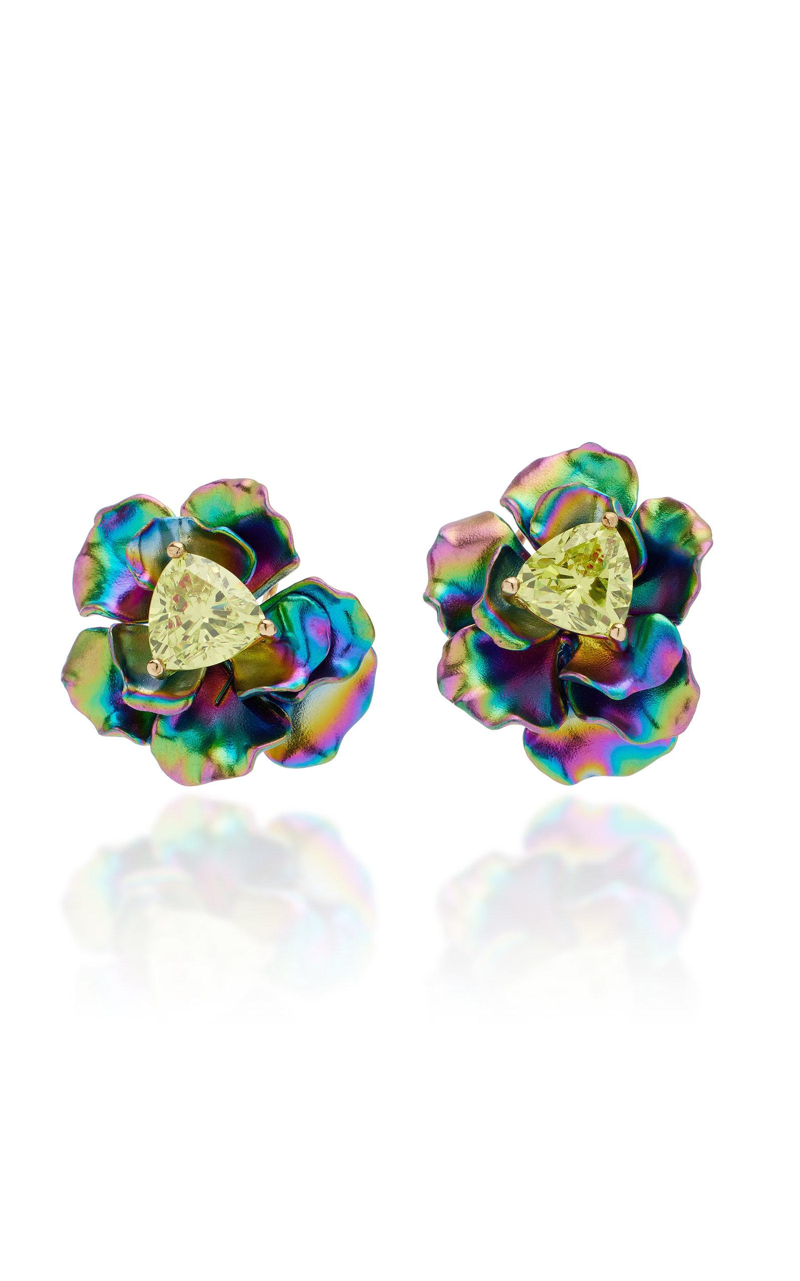Women's Rose 18K Yellow Gold Quartz Earrings