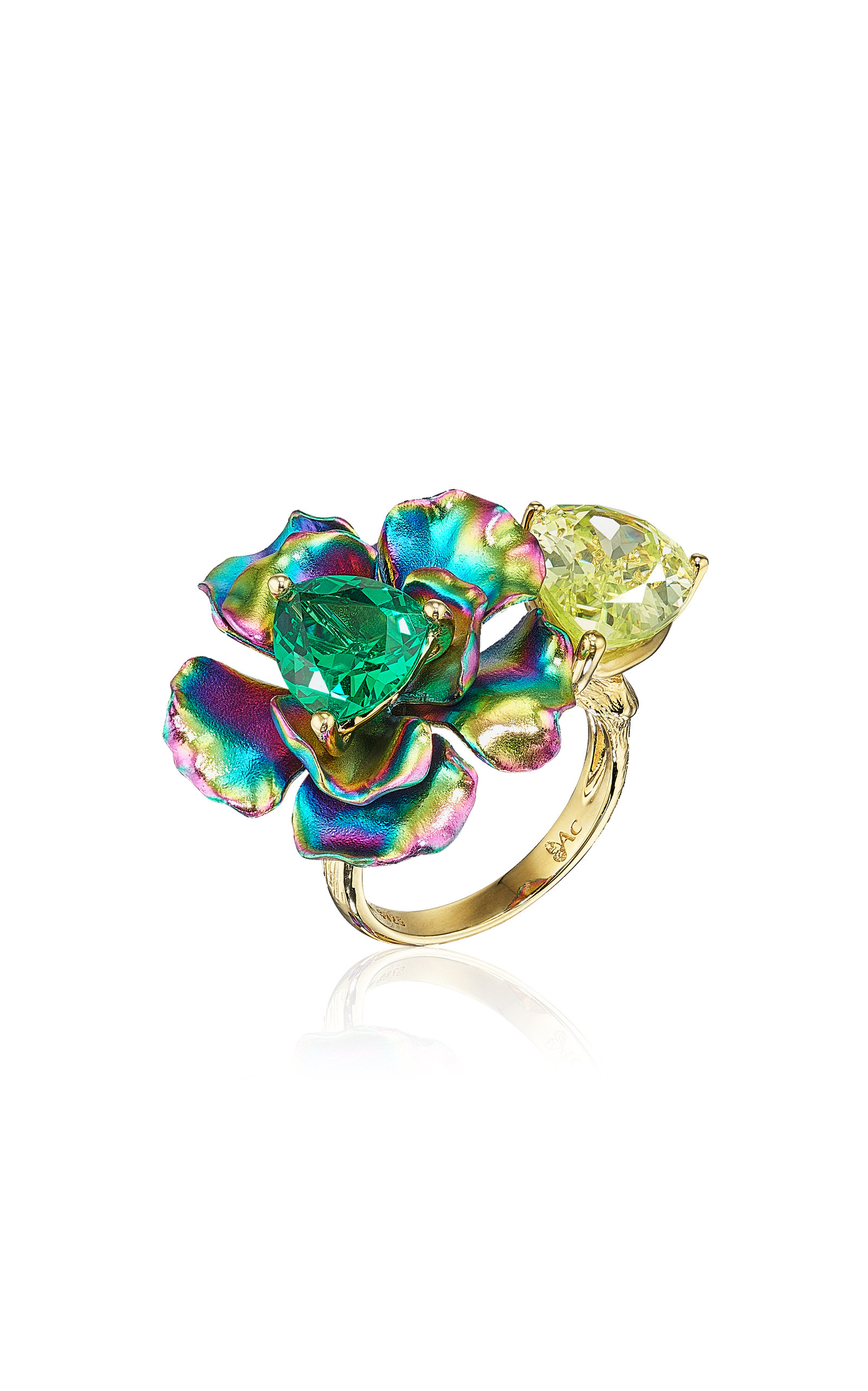Women's Bloom 18K Yellow Gold Emerald; Quartz Ring