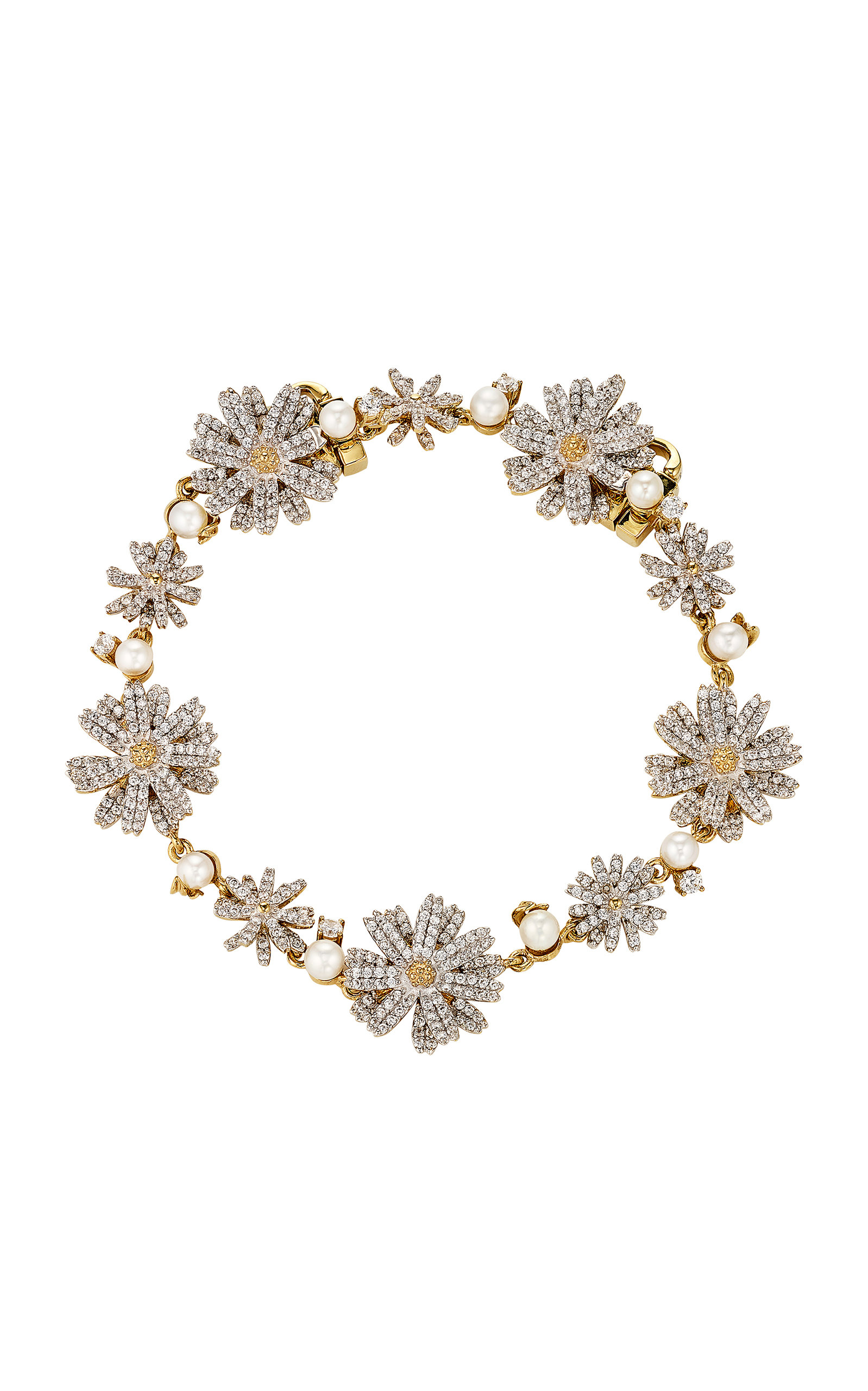 Women's 18K Gold Vermeil; Diamond And Pearl Bracelet