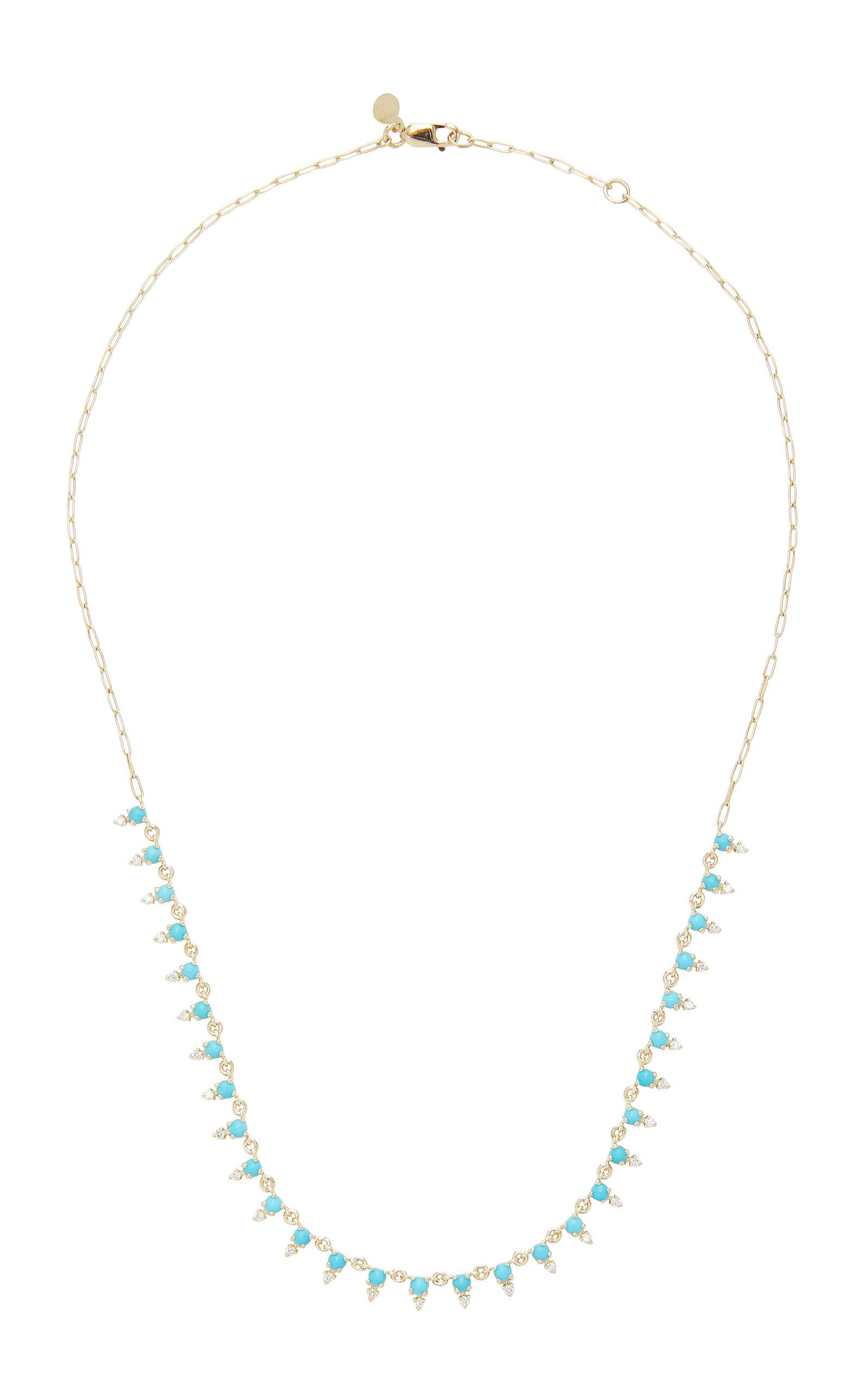 ILA - Women's Deja 14K Gold Turquoise and Diamond Necklace - Blue - Moda Operandi