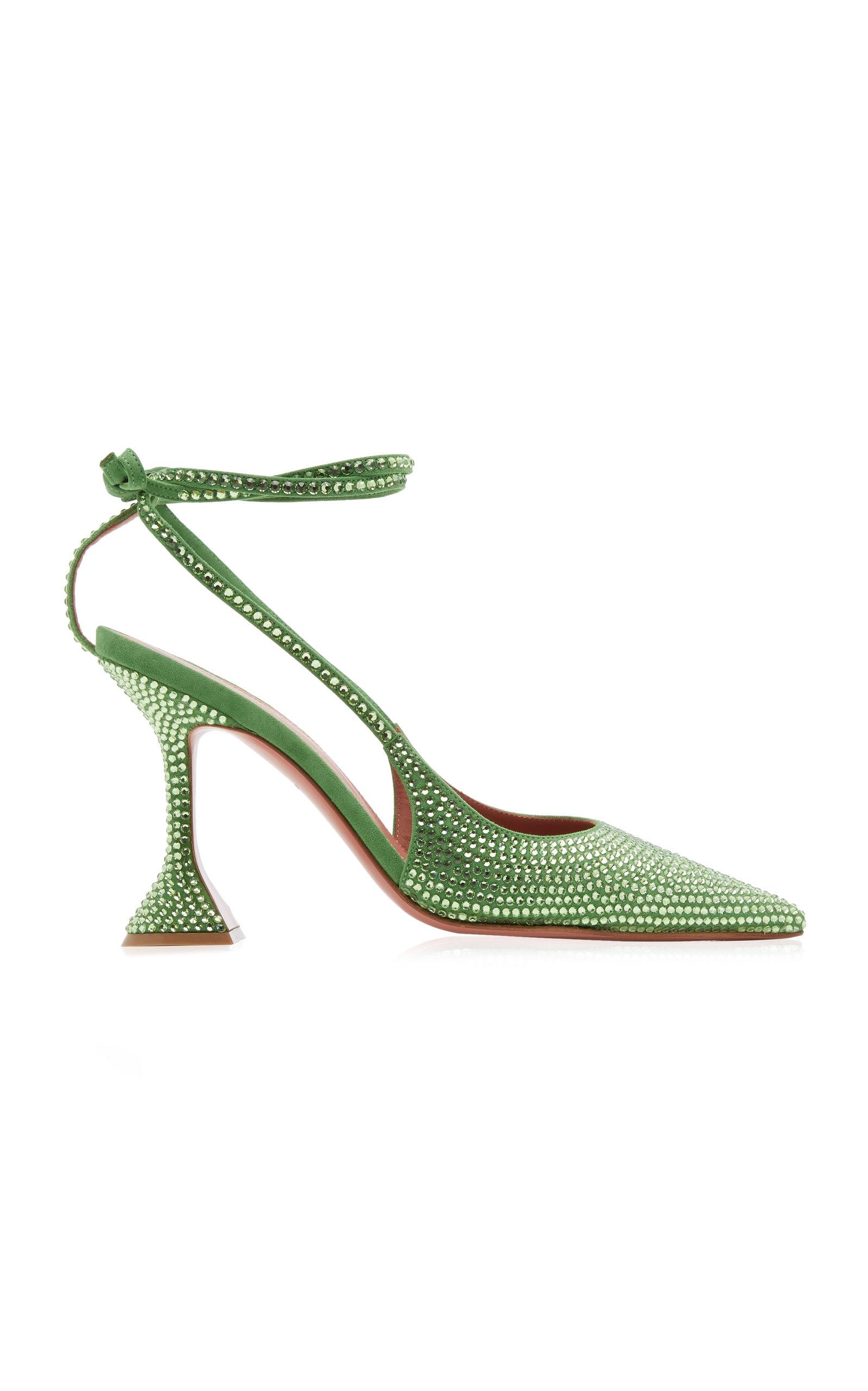 Amina Muaddi – Women's Karma Crystal-Embellished Suede Pumps – Green/red – Moda Operandi
