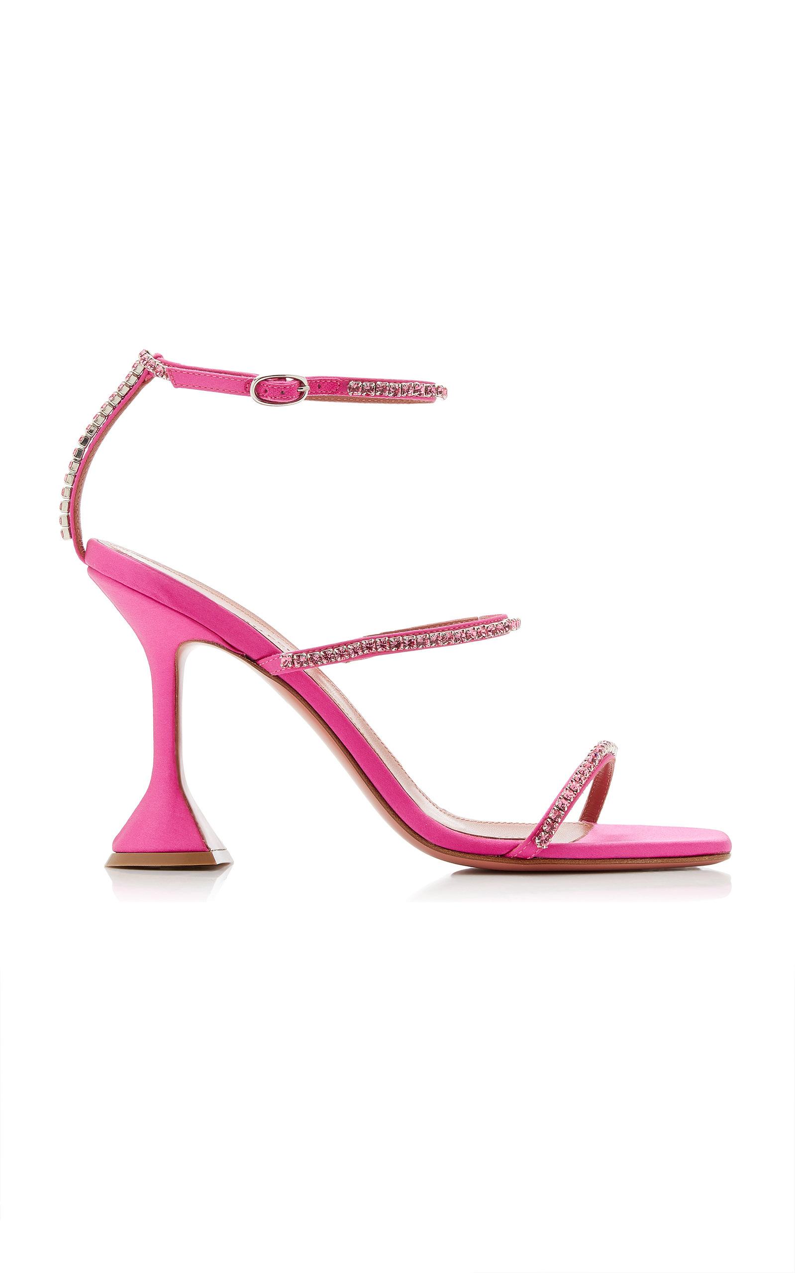 Amina Muaddi – Women's Gilda Crystal-Embellished Satin Sandals – Pink – Moda Operandi