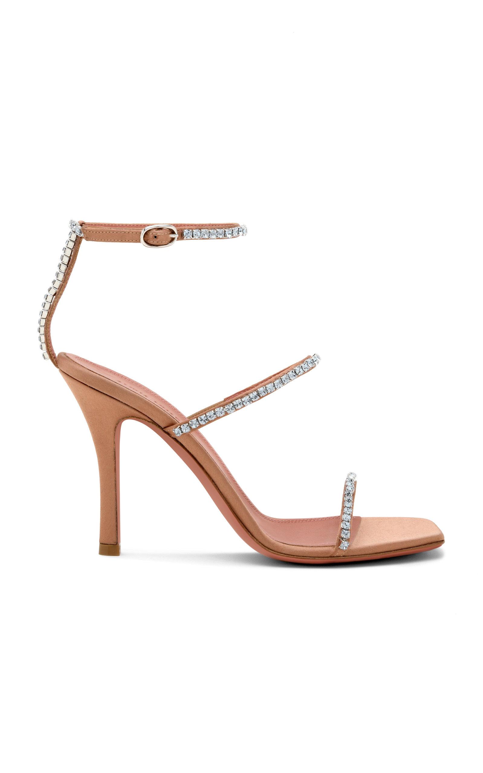 Amina Muaddi – Women's Gilda Crystal-Embellished Satin Sandals – Neutral – Moda Operandi