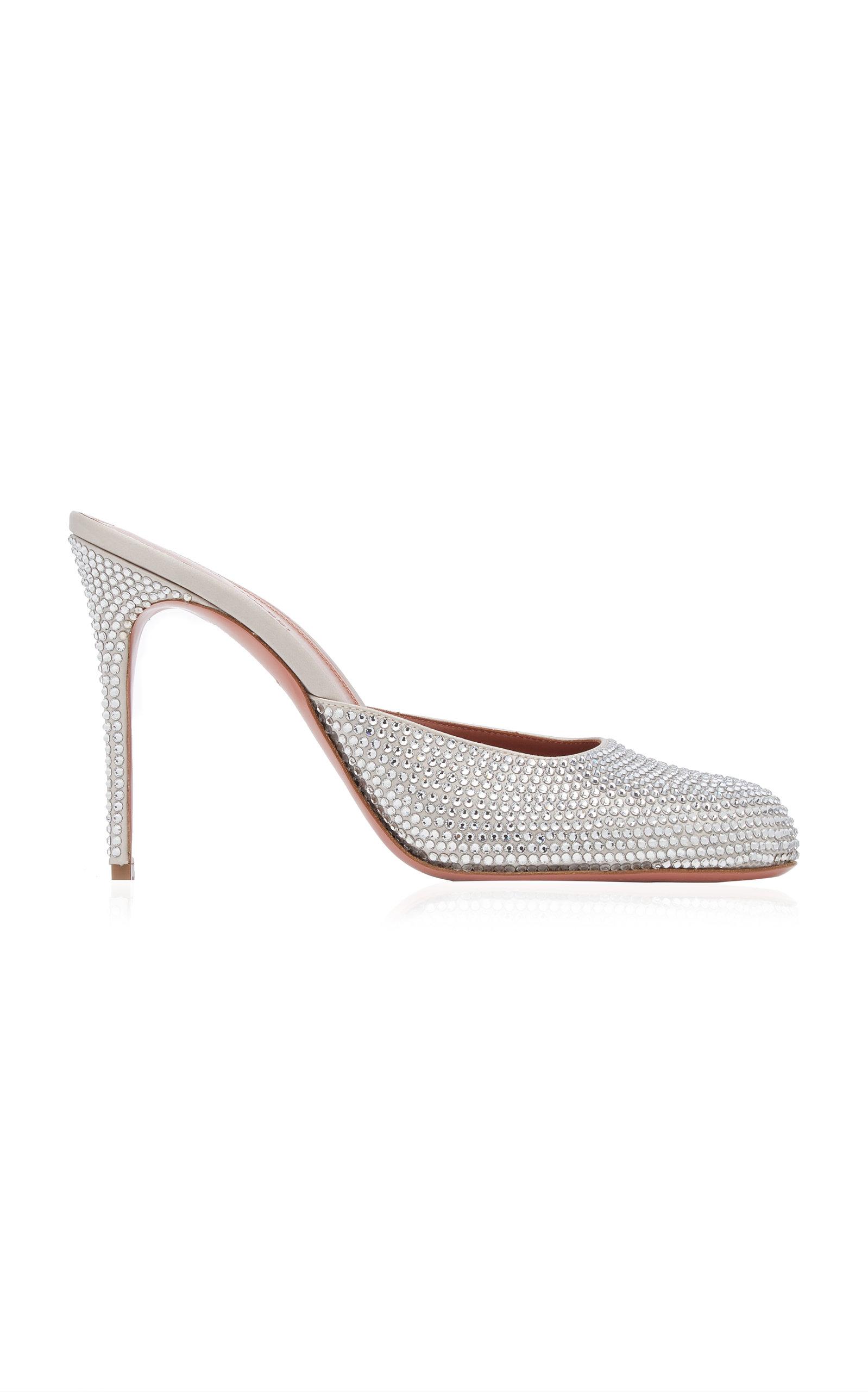 Amina Muaddi – Women's Emili Crystal-Embellished Satin Mules – White – Moda Operandi