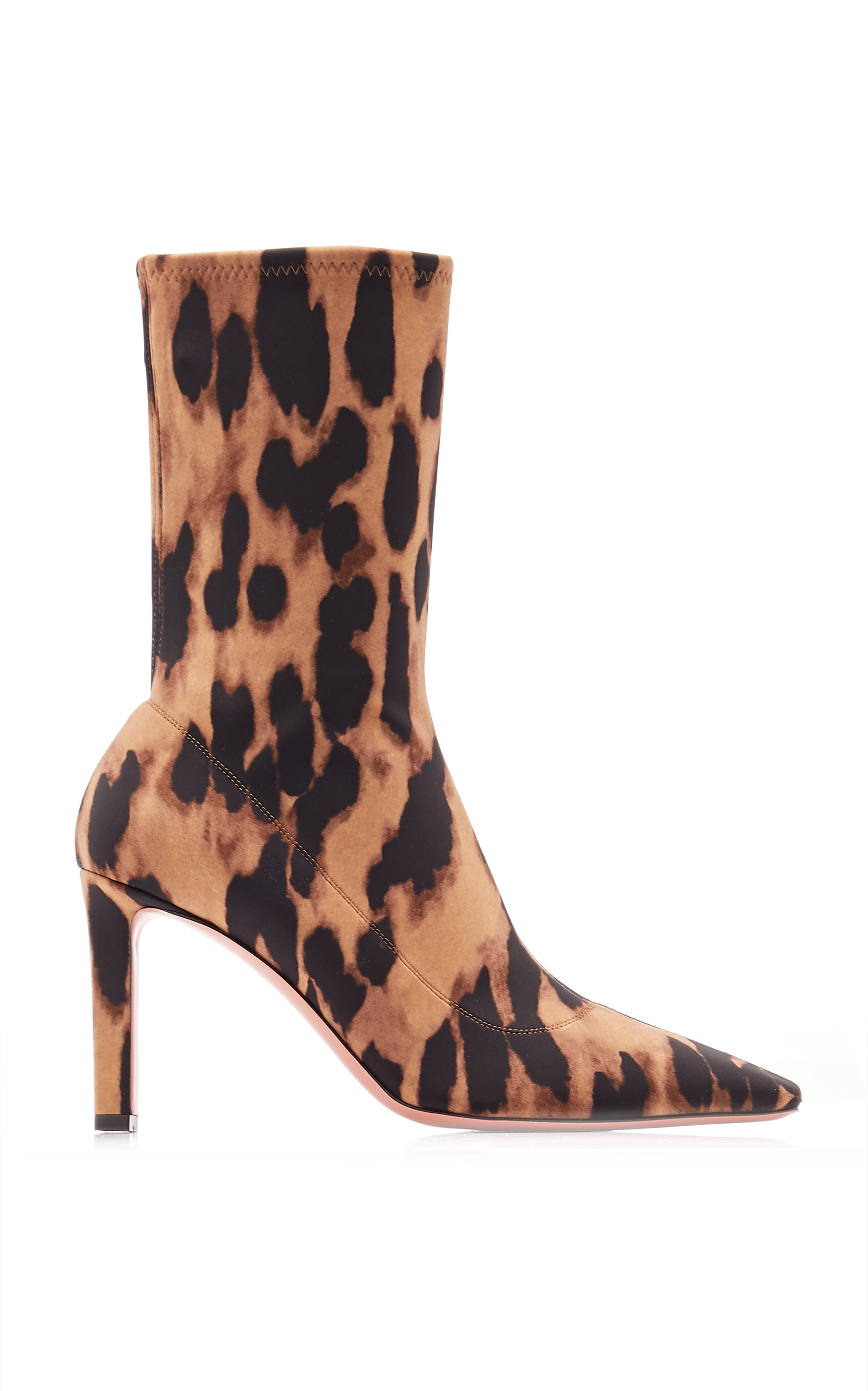 Amina Muaddi – Women's Hannah Leopard-Printed Jersey Ankle Boots – Animal – Moda Operandi