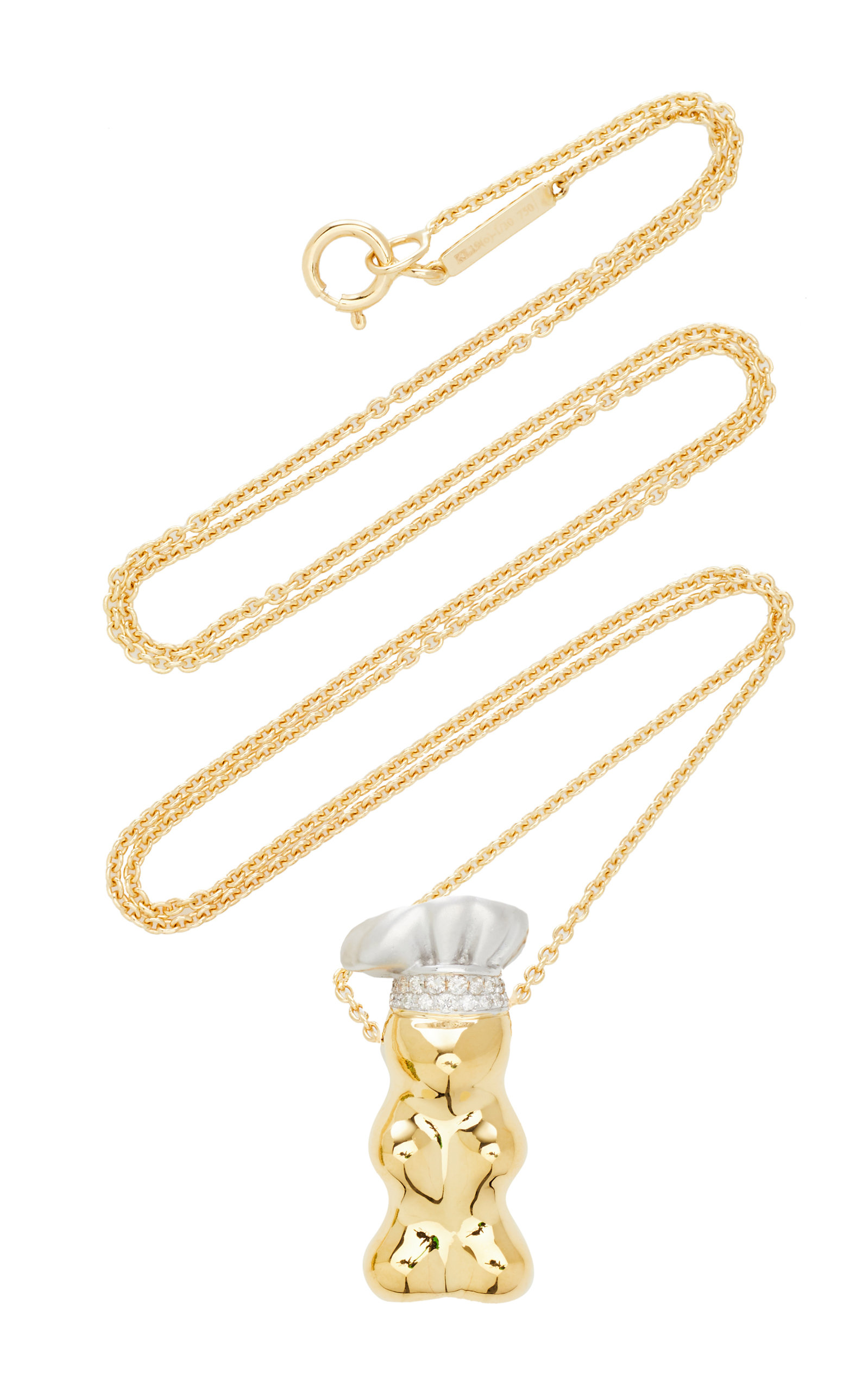 Women's Gummy Bear Chef Hat 18K Yellow-Gold and Diamond Necklace