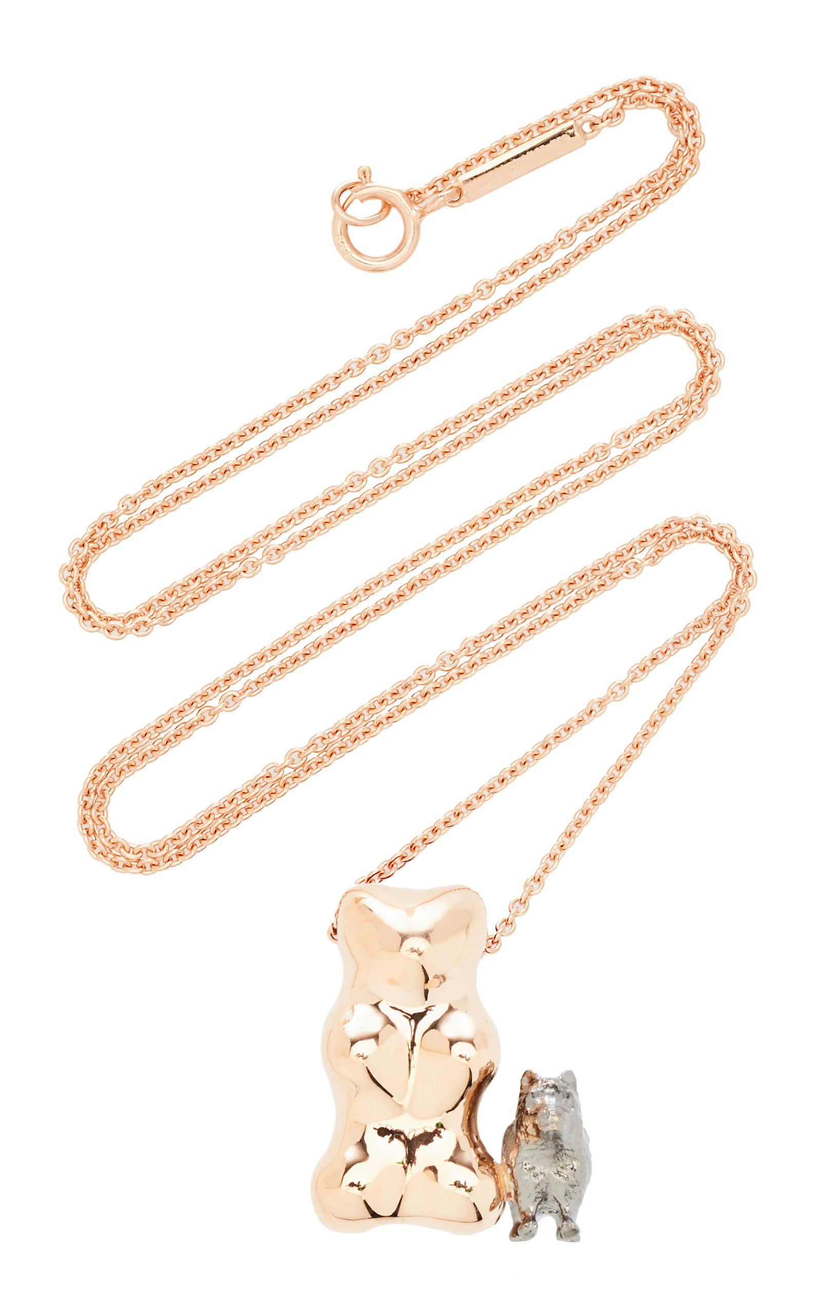 Lauren X Khoo - Women's Gummy Bear Dog 18K Rose and Yellow-Gold and Diamond Necklace - Gold - Moda Operandi