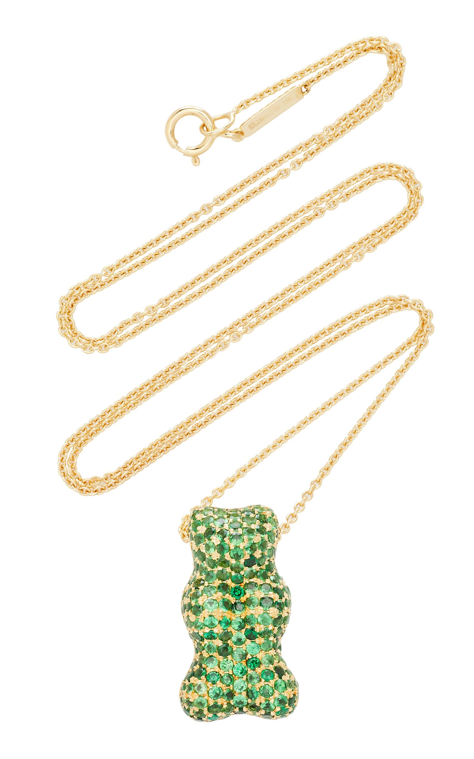 Women's Tsavorite-Embellished Gummy Bear 18K Yellow-Gold Necklace