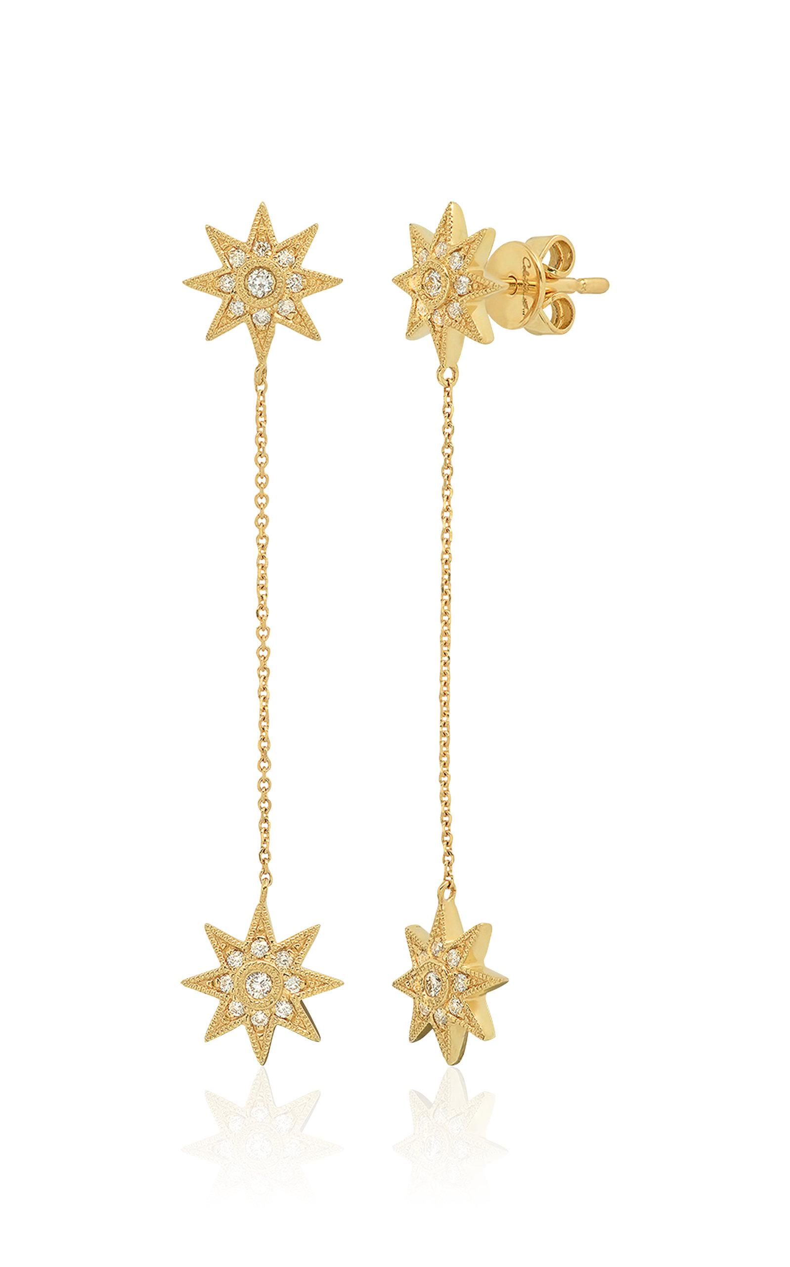 Women's Star Drop 18k Yellow-Gold Earrings