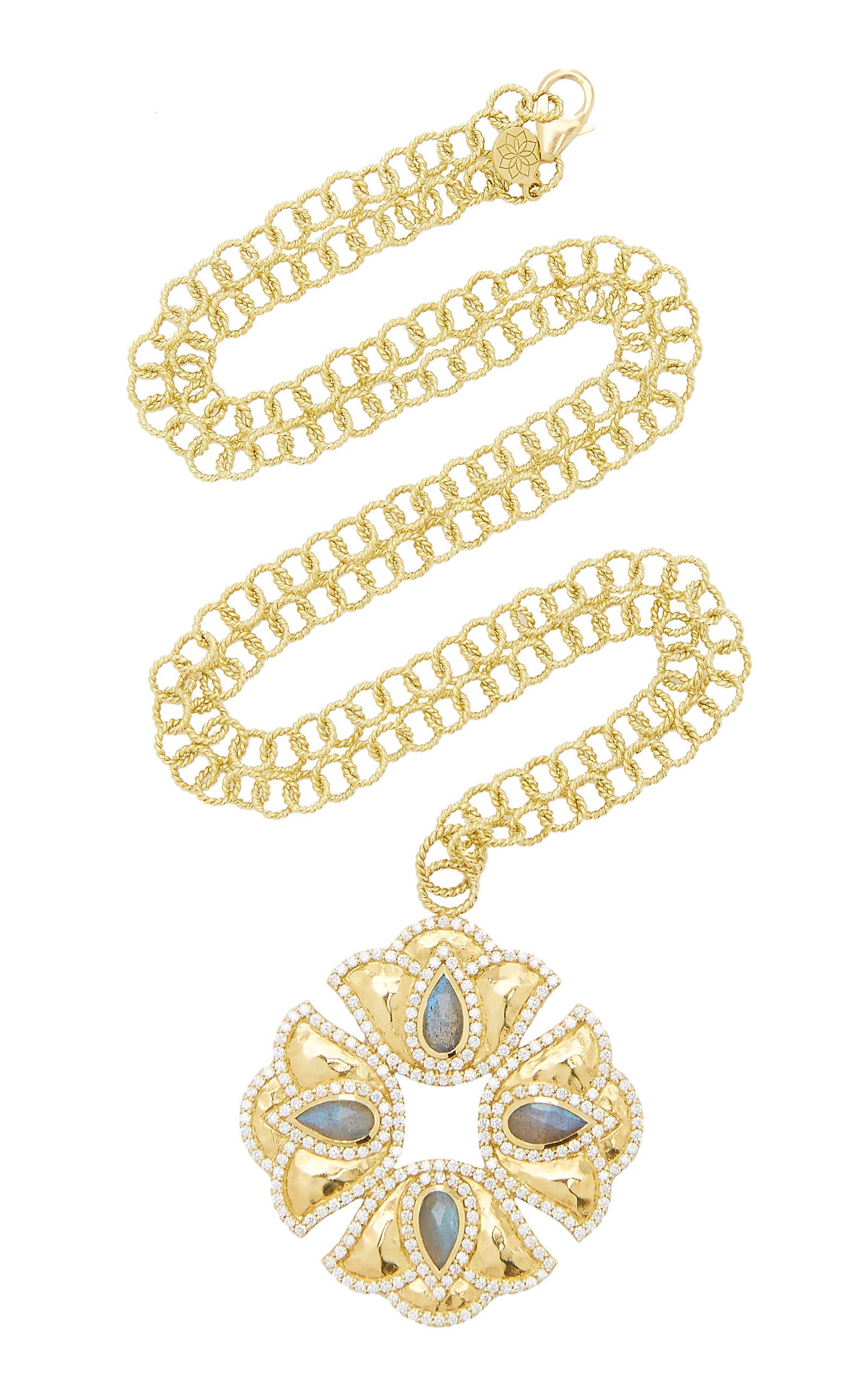 Women's Kaliyana Lotus 18K Yellow Gold; Labradorite; and Diamond Pendant Necklace