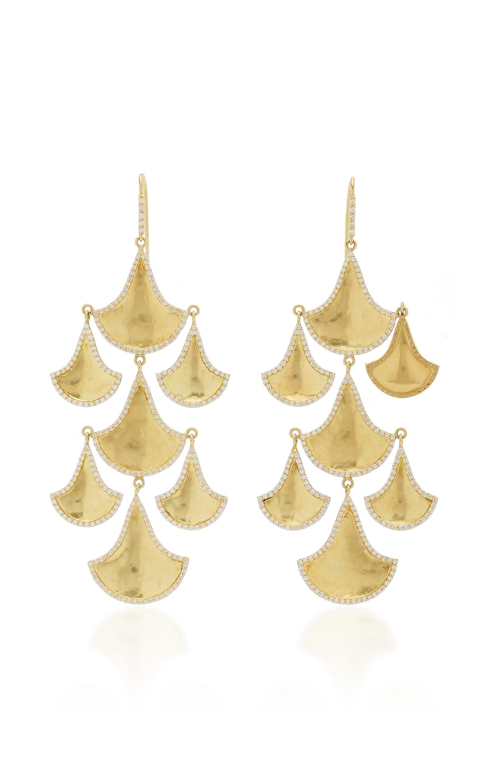 Women's Kimaya Fan Graduated 18K Yellow-Gold And Diamond Chandelier Earrings