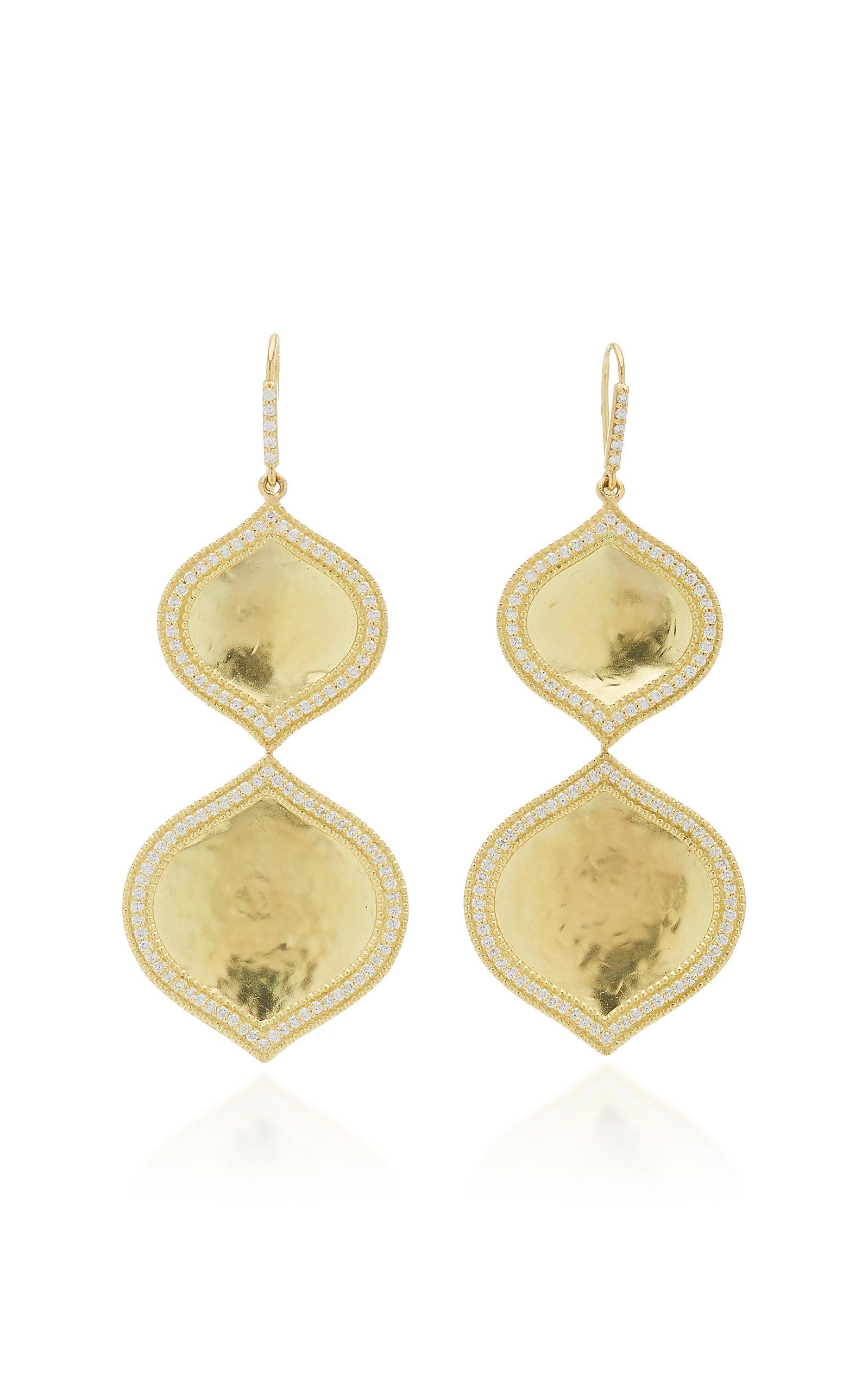 Women's Double Pallavi 18k Yellow-Gold and Diamond Drop Earrings