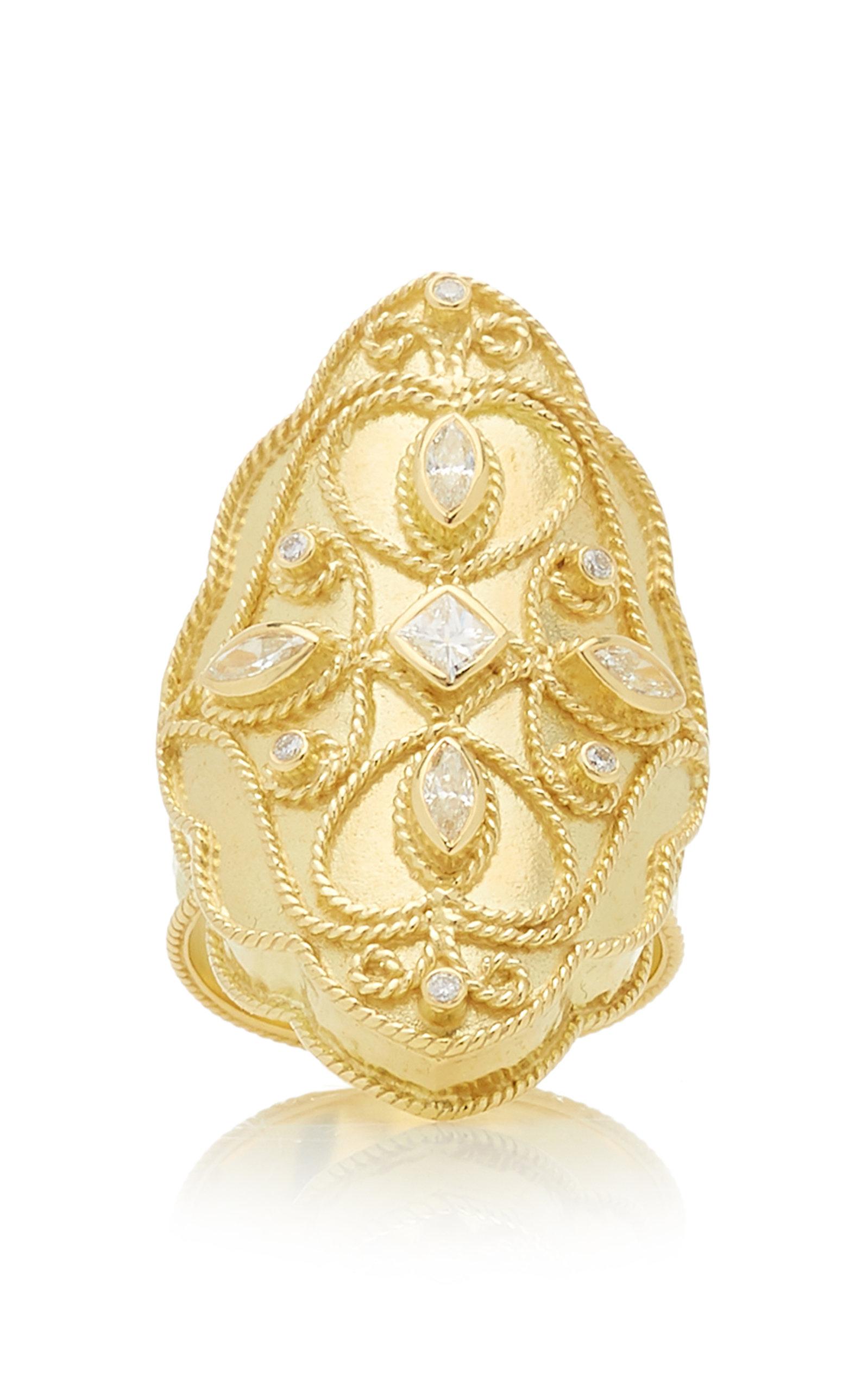 Women's Priya 18k Yellow-Gold and Diamond Marquis Ring