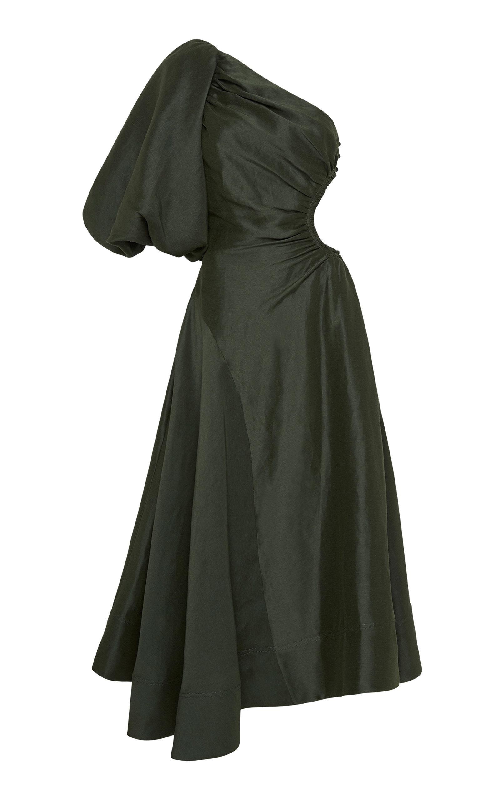 - Women's Concept Asymmetric Cutout Silk-Linen Maxi Dress