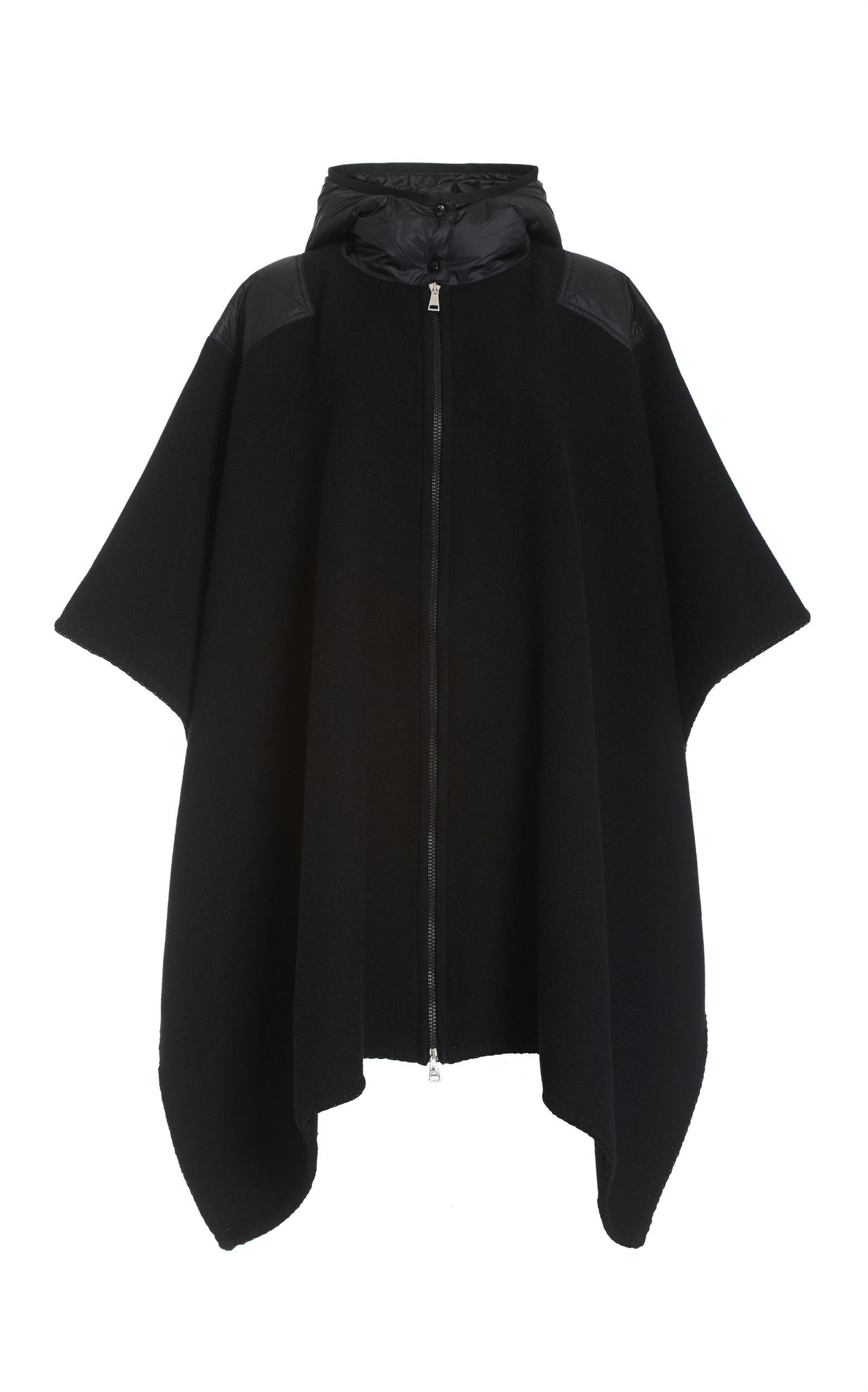 Moncler - Women's Mantella Shell-Trimmed Wool Hooded Cape Jacket - Black - Moda Operandi