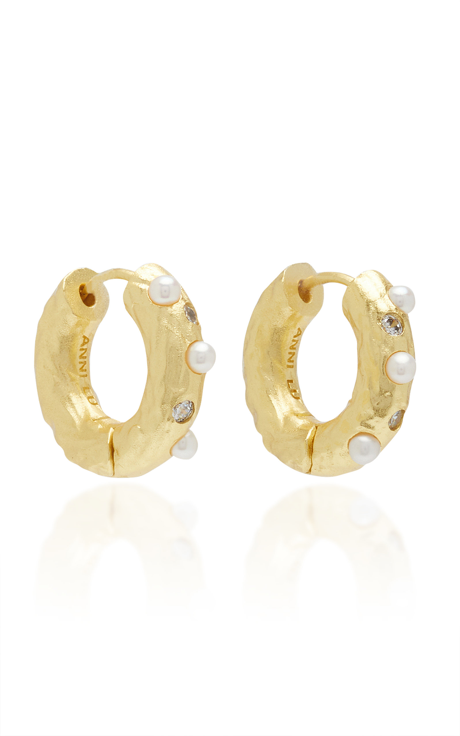 Women's Gem in a Hoop Pearl and Crystal 18K Gold-Plated Earrings