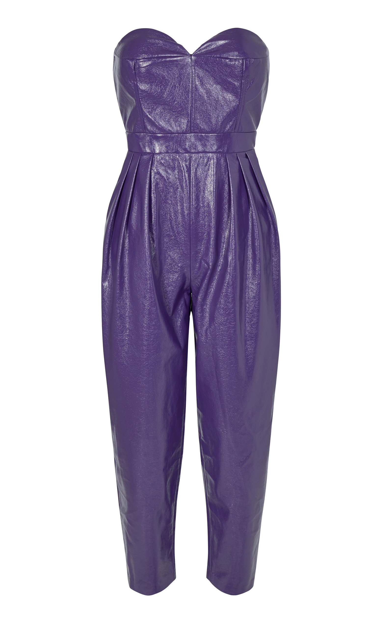 Rotate Leathers LANA FAUX LEATHER STRAPLESS JUMPSUIT