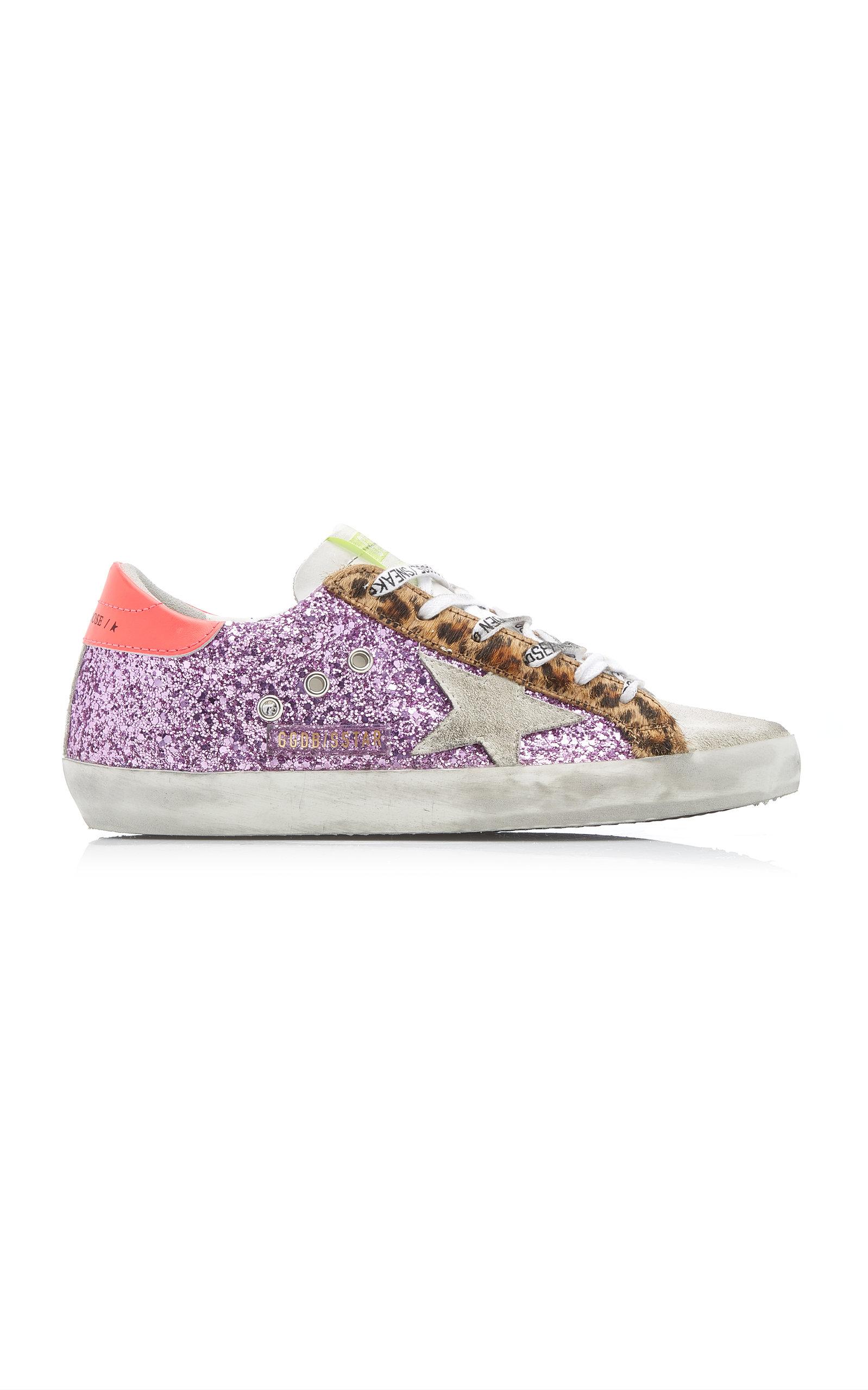 Golden Goose - Women's Superstar Low-Rise Glittered Suede Sneakers  - Purple - Moda Operandi