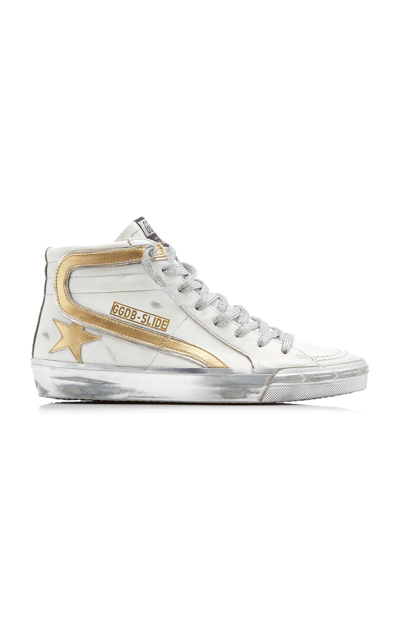 Golden Goose - Women's Slide Metallic High Top Leather Sneakers - Silver - Moda Operandi