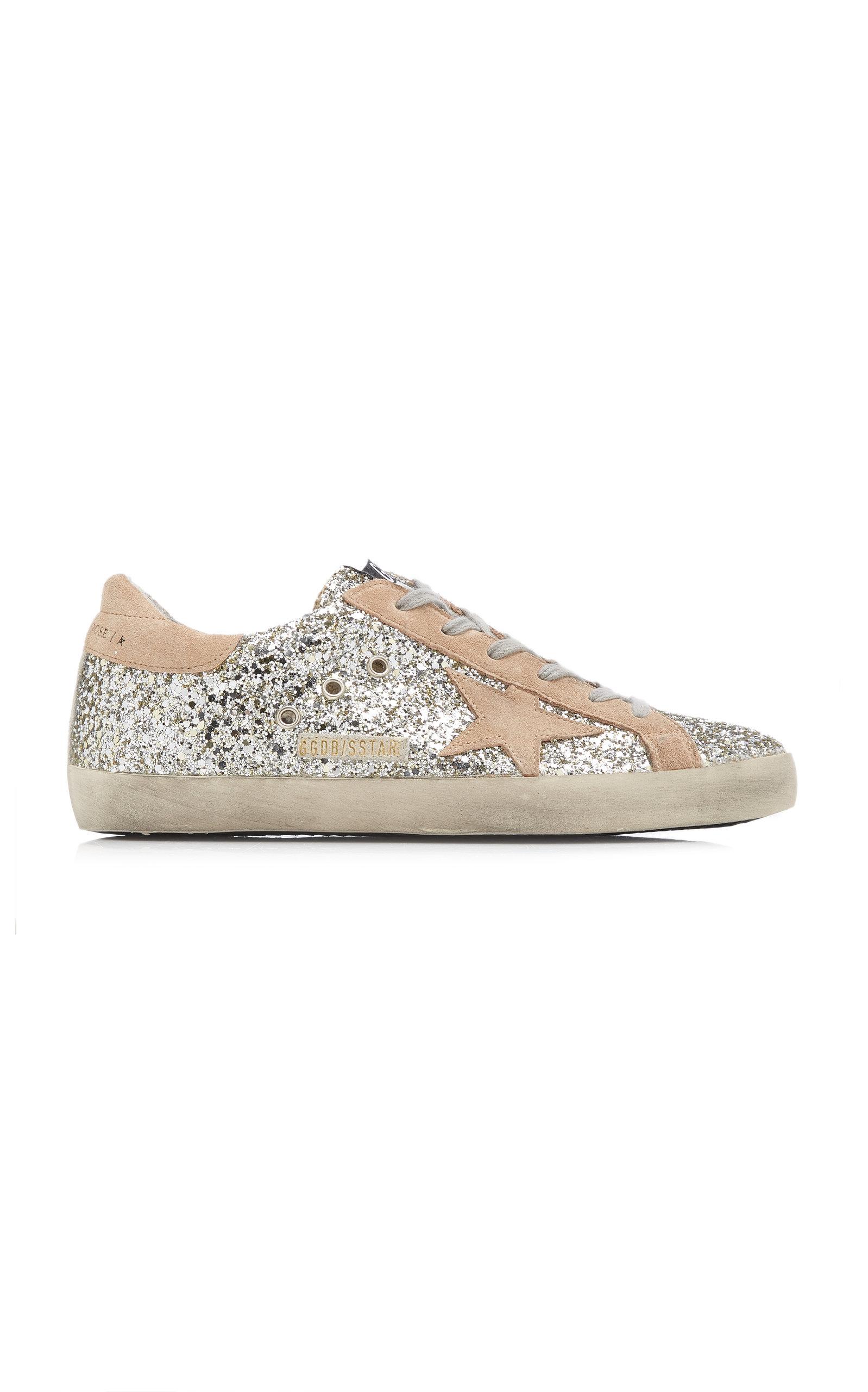 Golden Goose - Women's Superstar Glittered Leather Sneakers - Silver - Moda Operandi