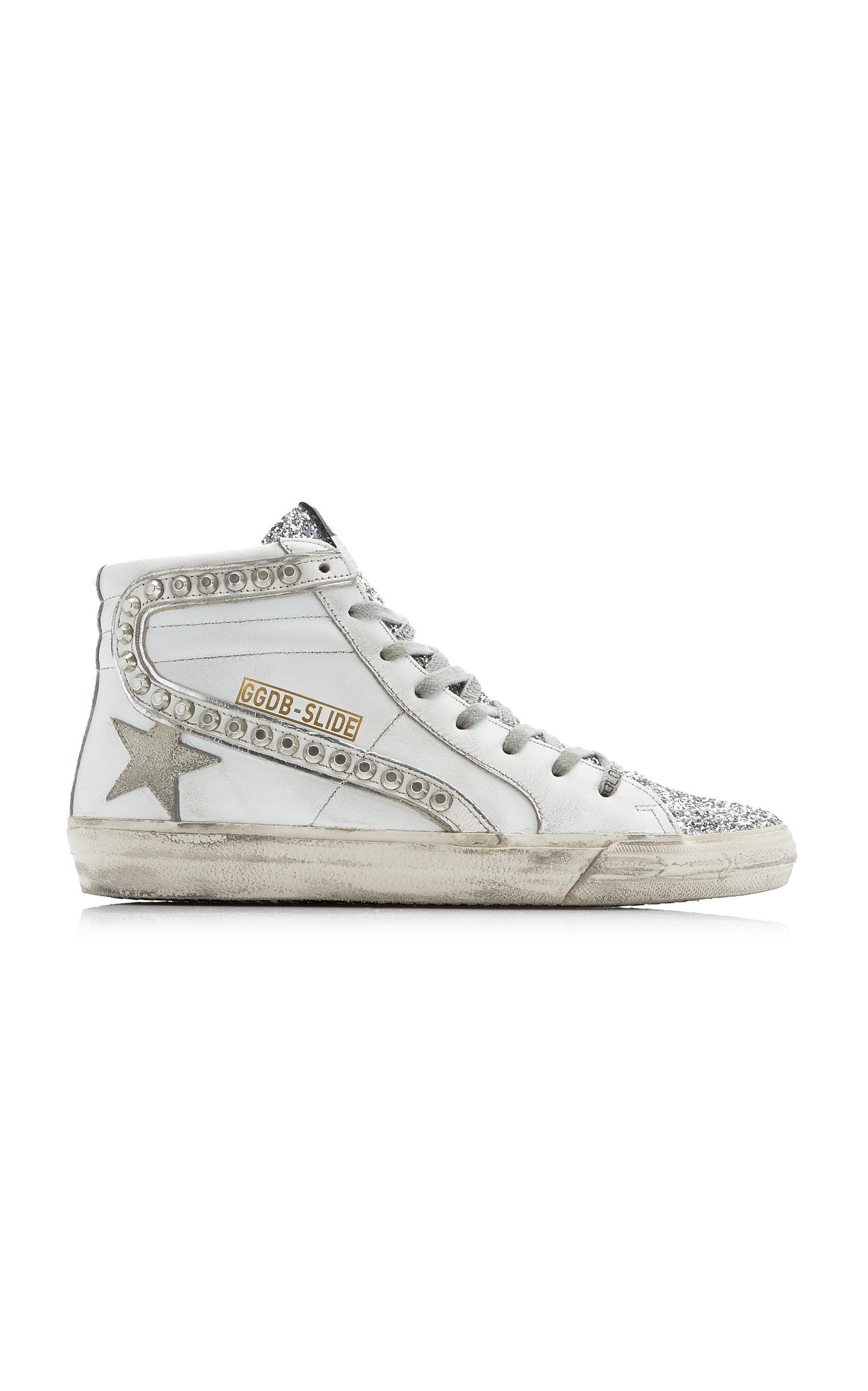Golden Goose - Women's Slide Studded Leather High-Top Sneakers - White - Moda Operandi
