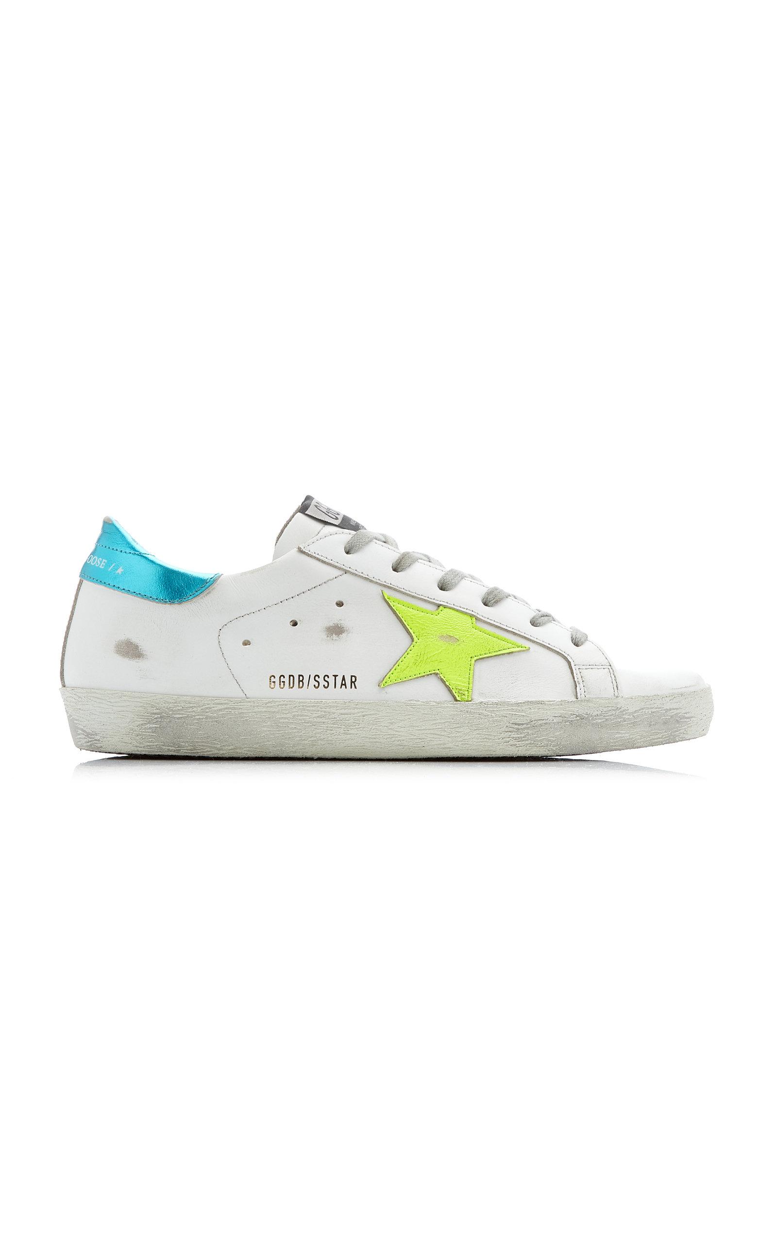 Golden Goose - Women's Superstar Distressed Leather Sneakers - White - Moda Operandi