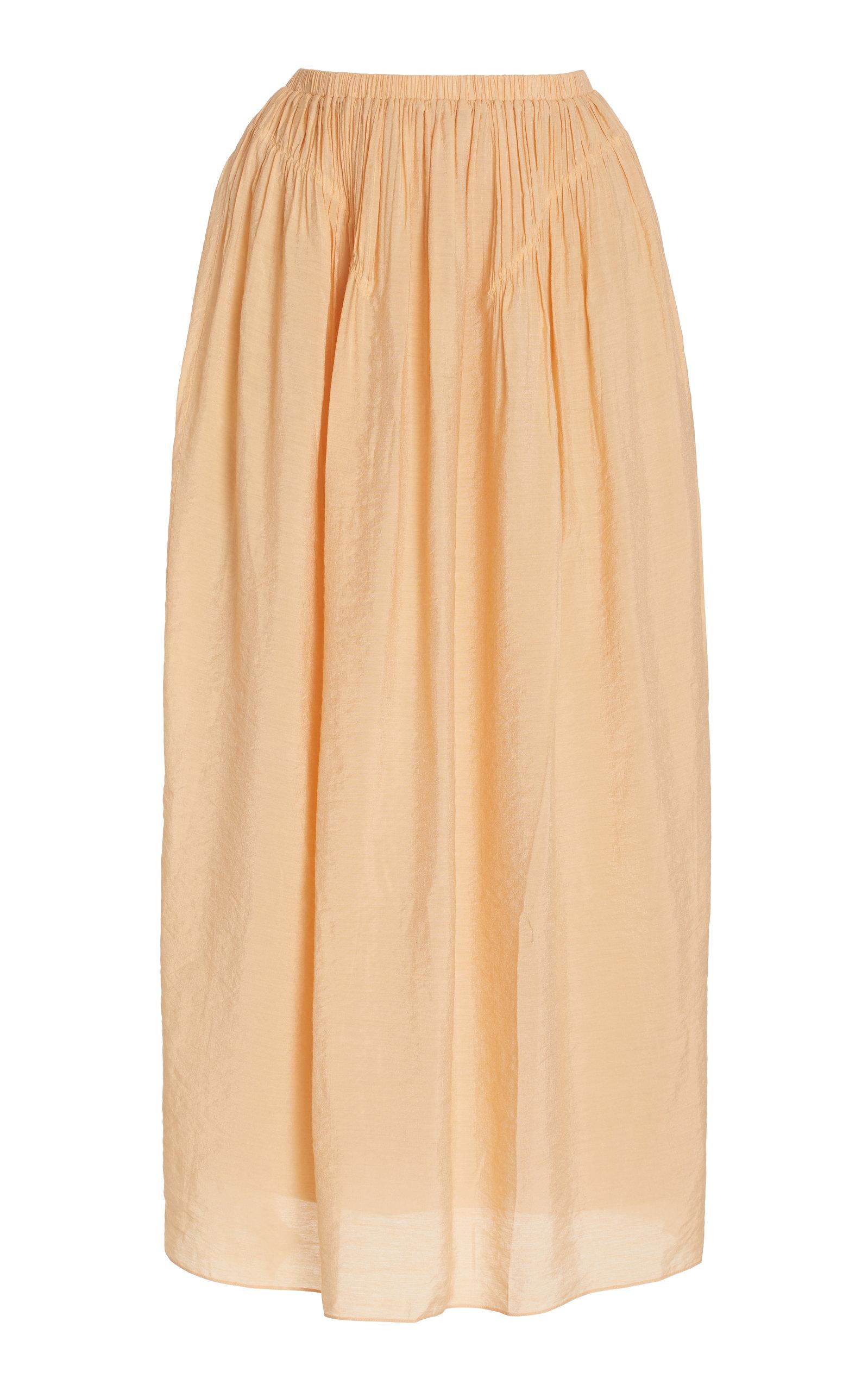 Women's Liz Smocked Crepe Midi Skirt