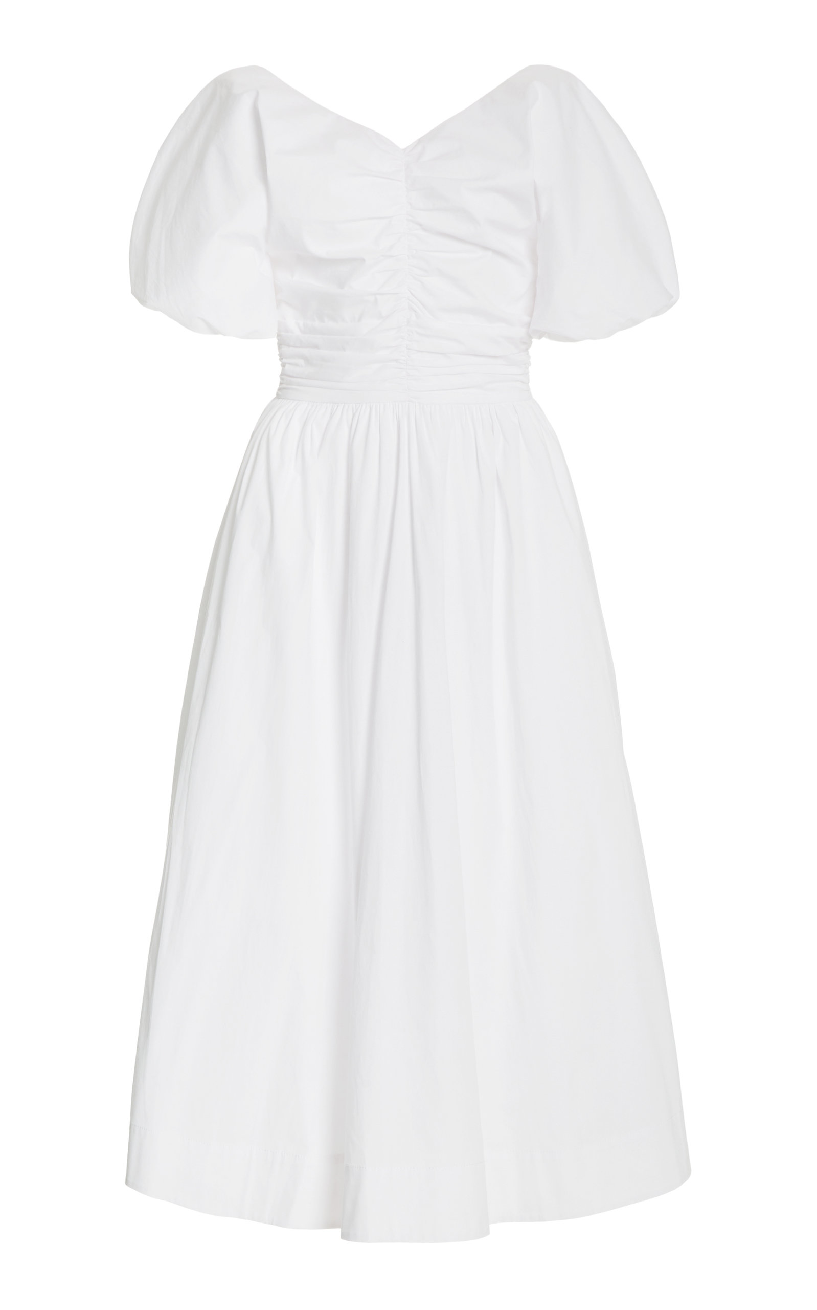 Staud GRETA COTTON-POPLIN MIDI DRESS