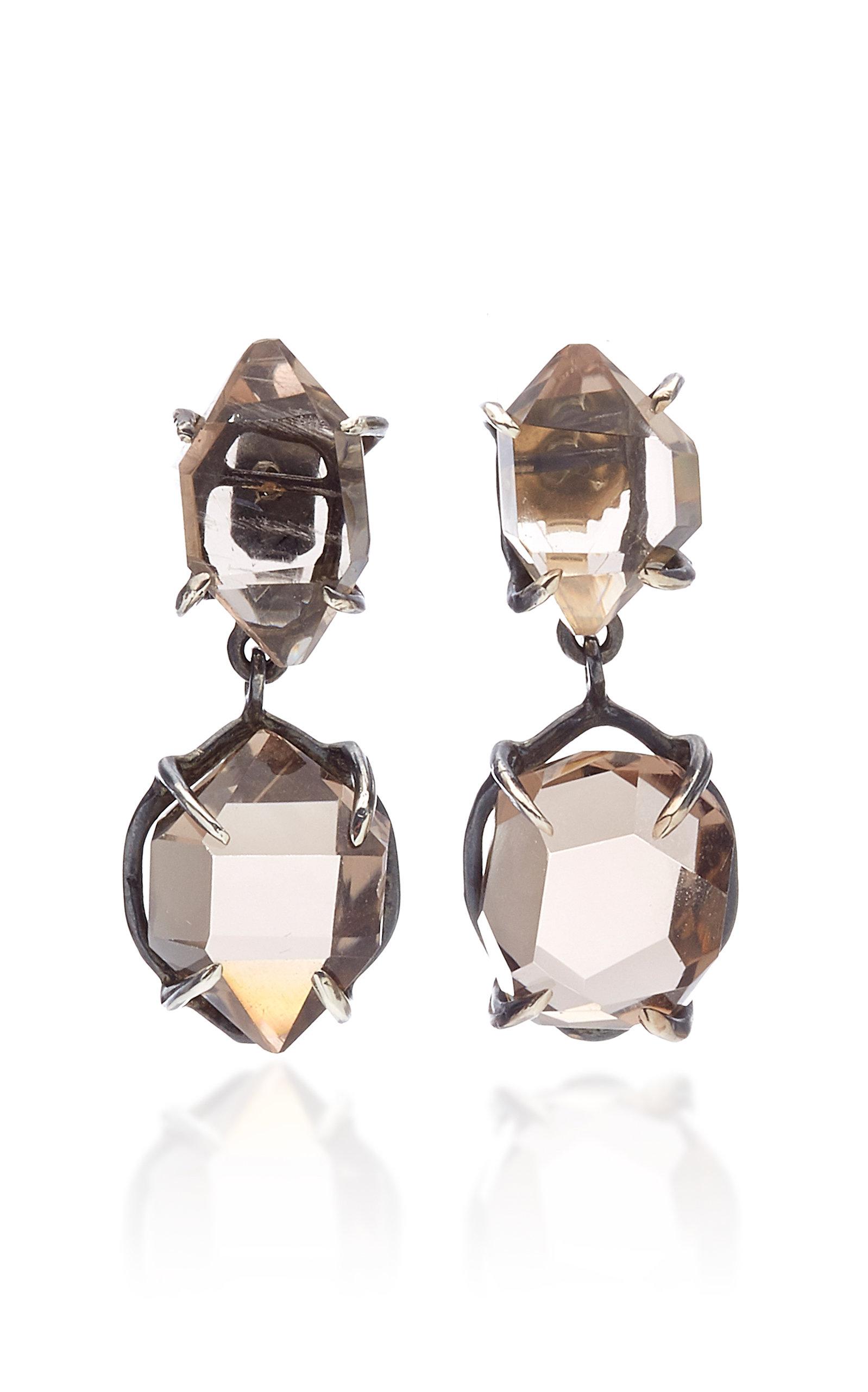 Women's Herkimer Duplo Quartz Oxidized Silver Earrings