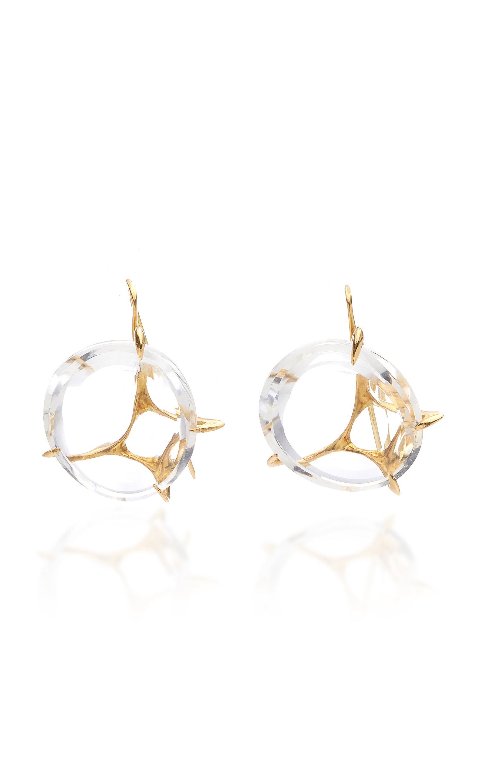 Women's Brinco Envolto Quartz 18K Gold Earrings