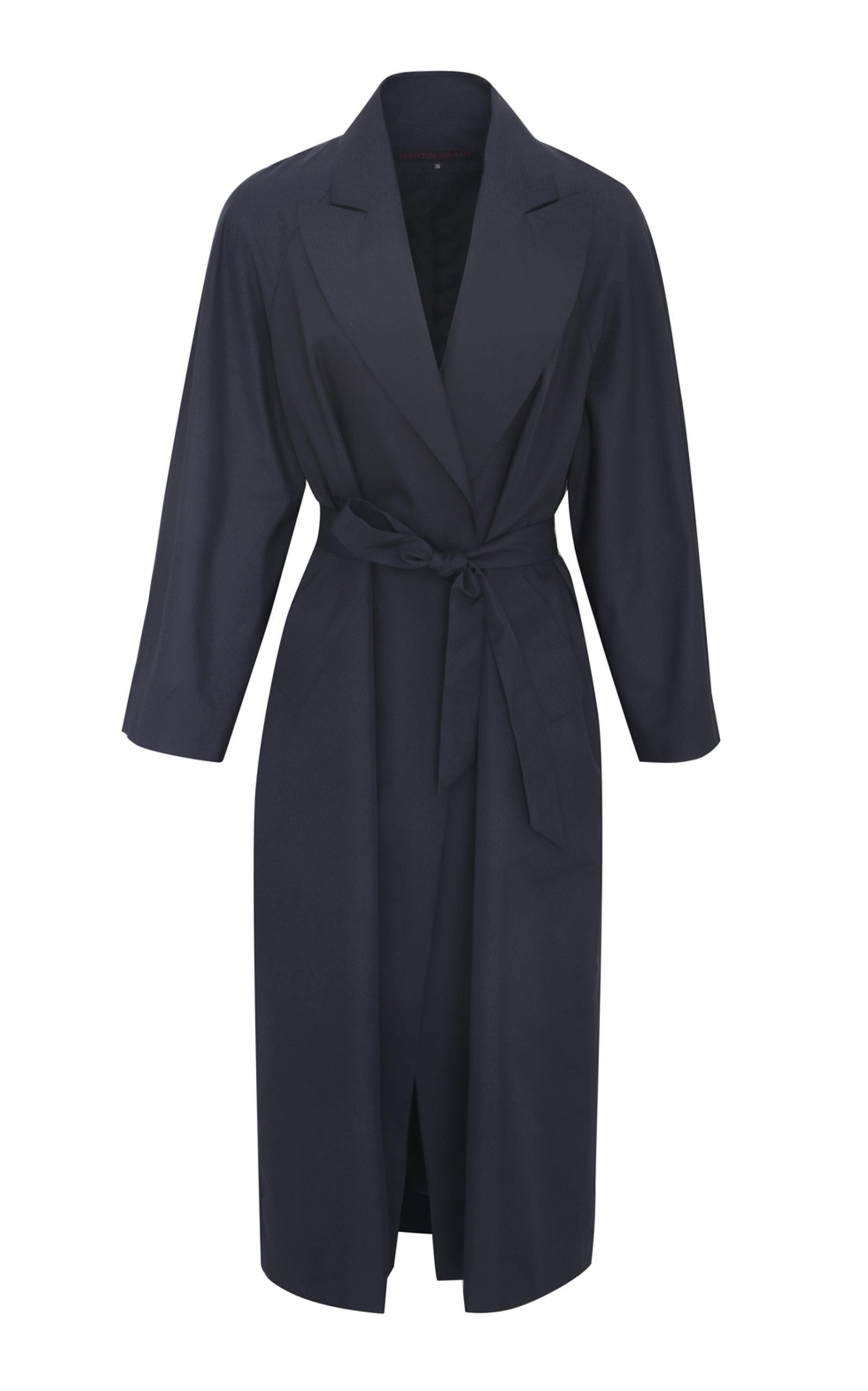 Martin Grant Women's Belted Waterproof Taffeta Trench Coat In Navy