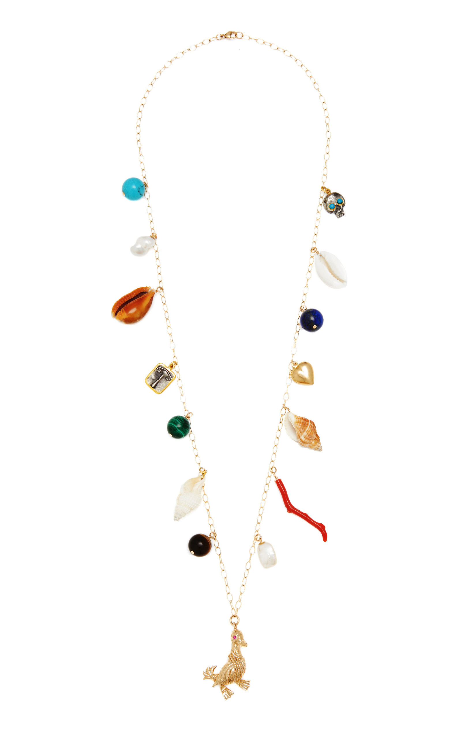 Women's Multi-Stone 14K Yellow Gold Charm Necklace